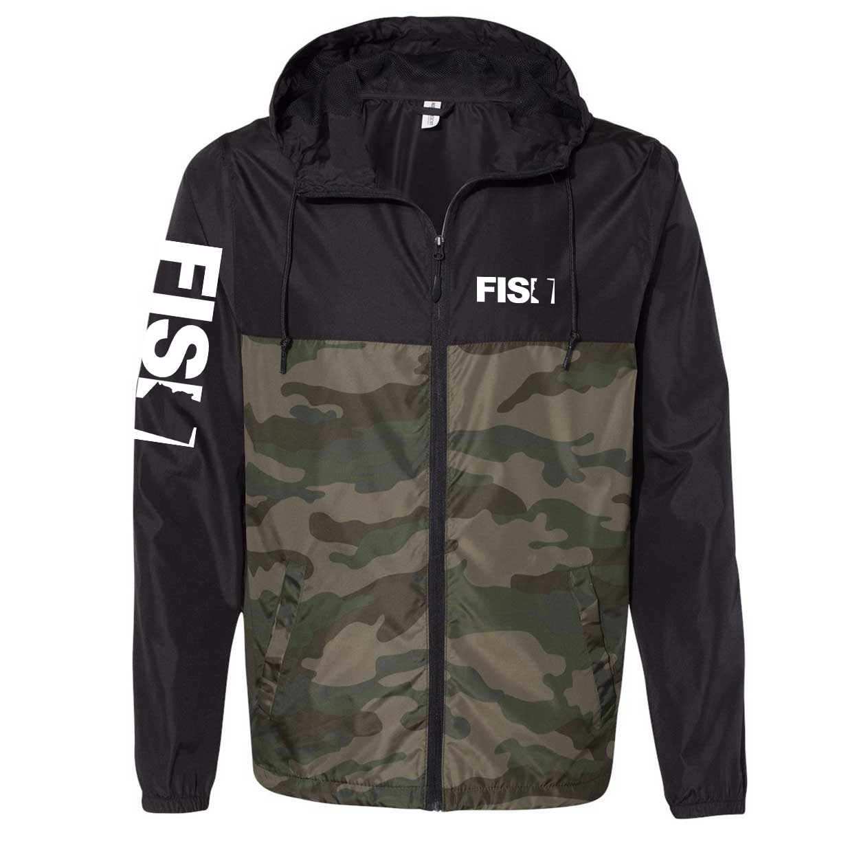 Fish Arizona Classic Lightweight Windbreaker Black/Forest Camo (White Logo)