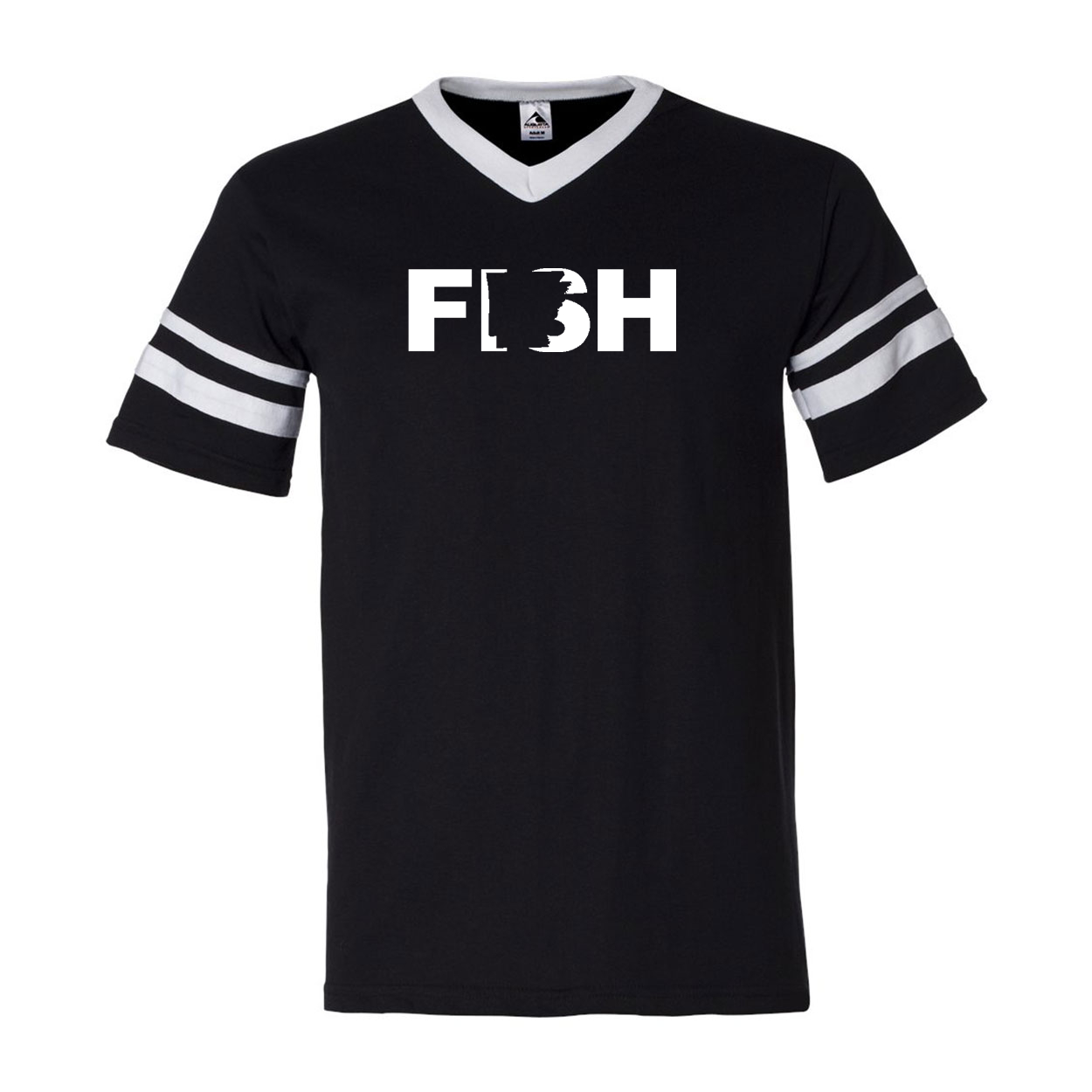 Fish Arkansas Classic Premium Striped Jersey T-Shirt Black/White (White Logo)