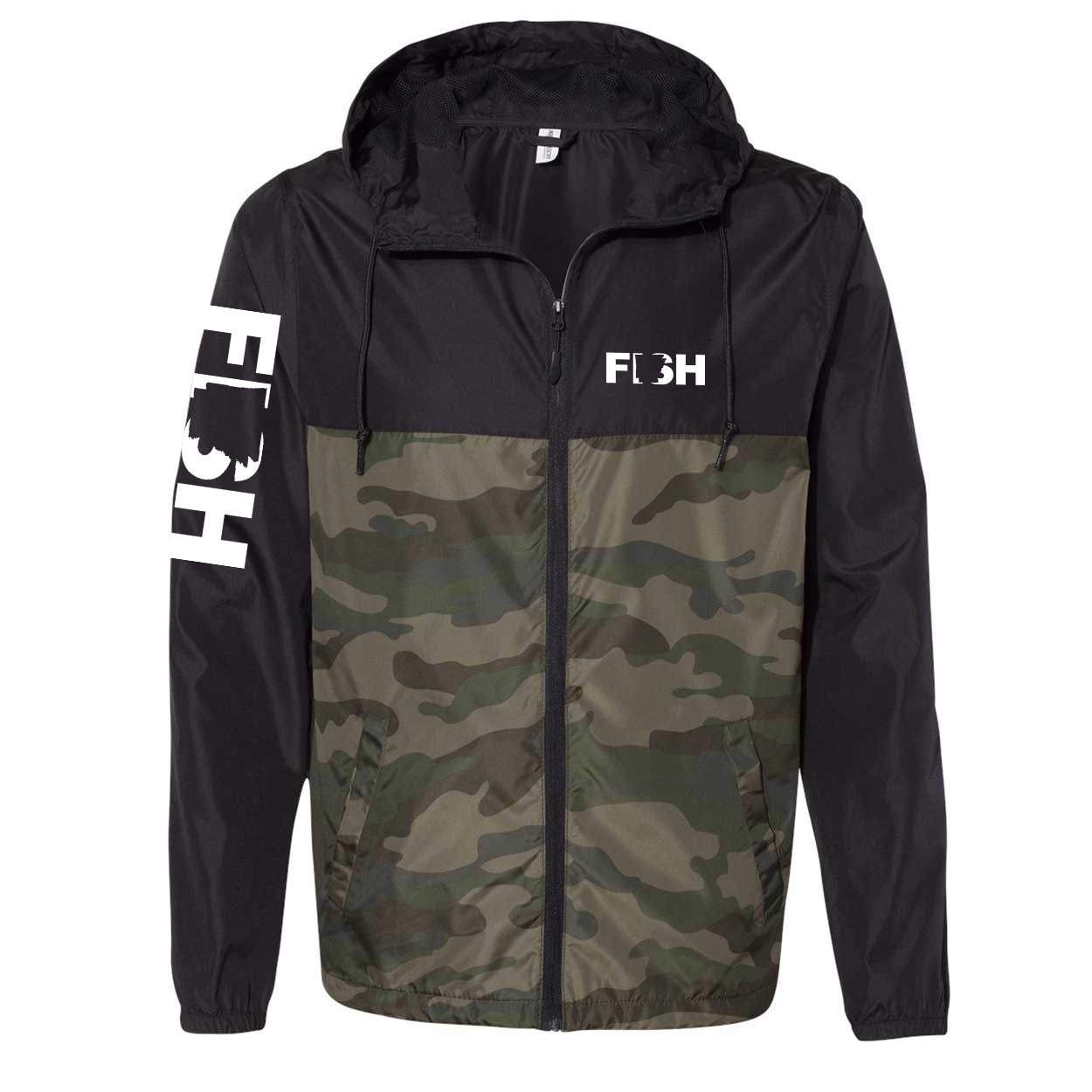 Fish Arkansas Classic Lightweight Windbreaker Black/Forest Camo (White Logo)