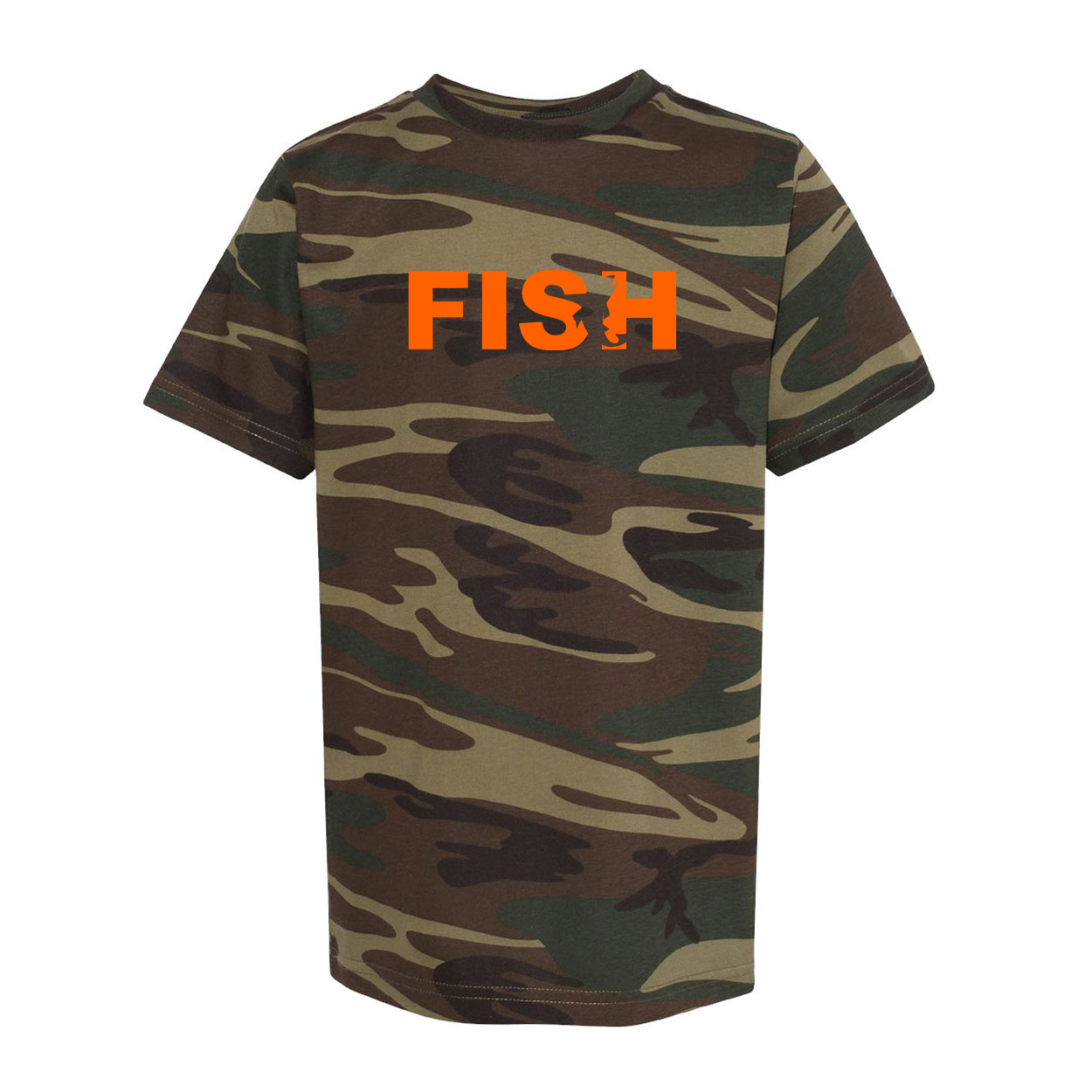 Fish Catch Logo Classic Youth Unisex T-Shirt Camo (Orange Logo)