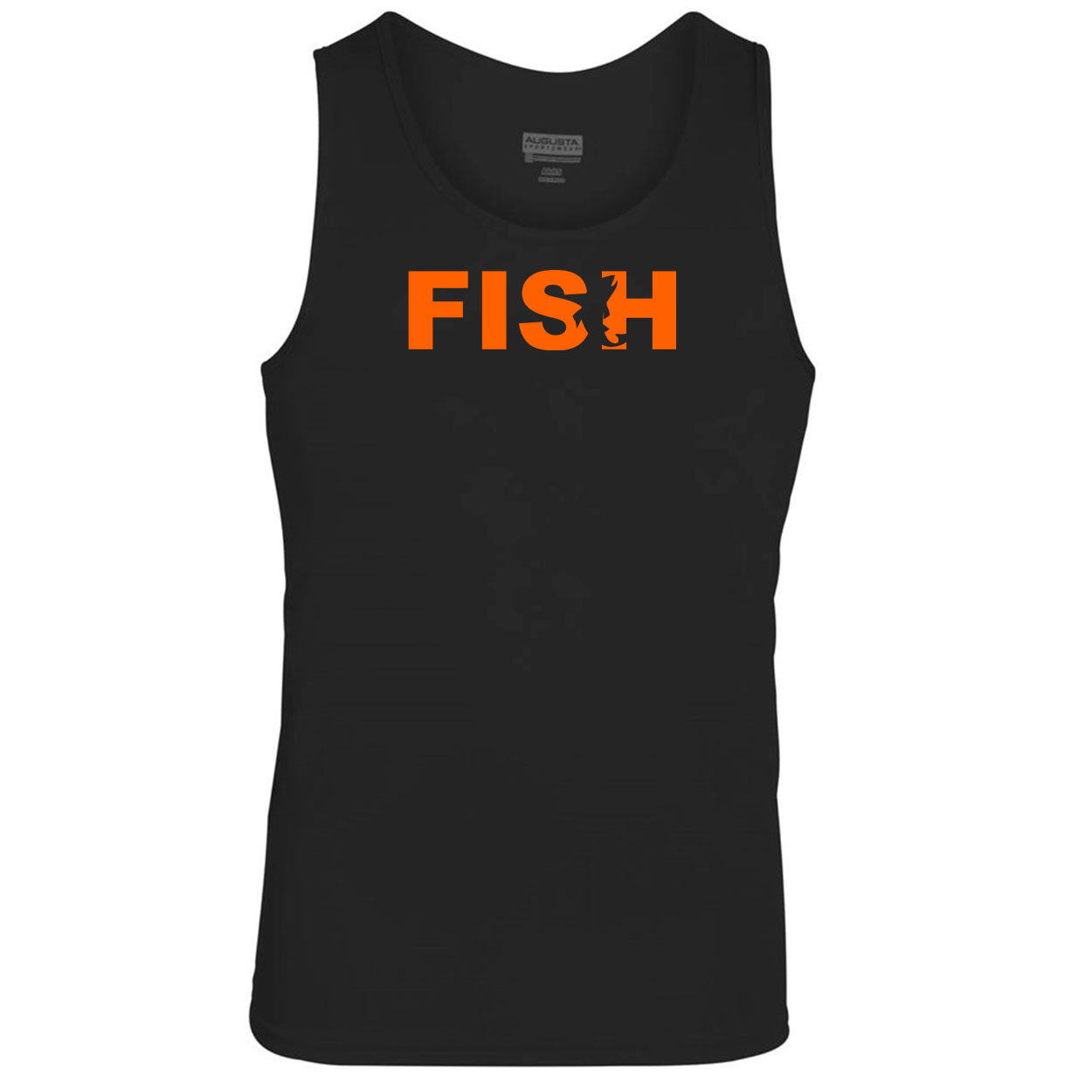 Fish Catch Logo Classic Youth Unisex Performance Tank Top Black (Orange Logo)