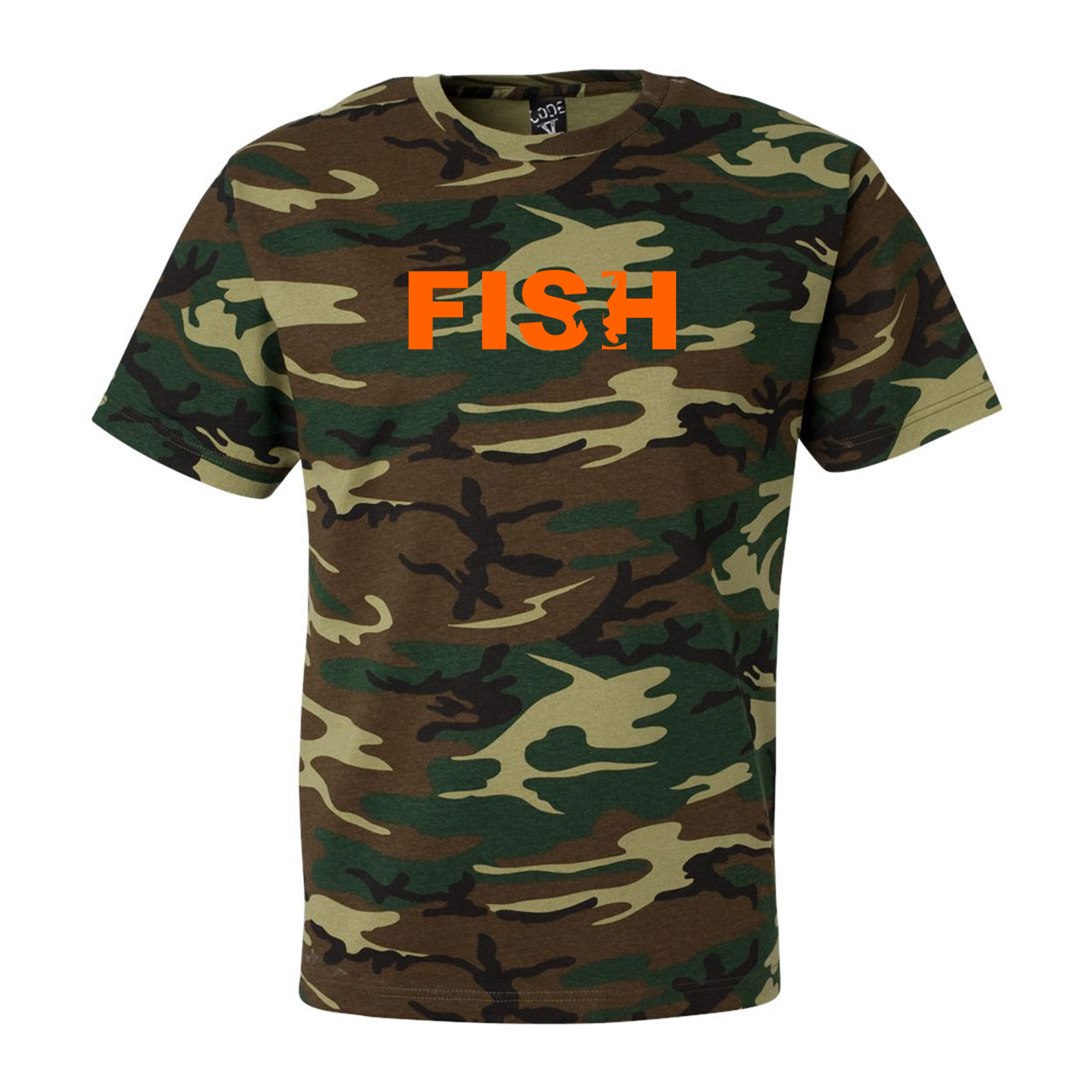 Fish Catch Logo Classic Premium T-Shirt Camo (Orange Logo)