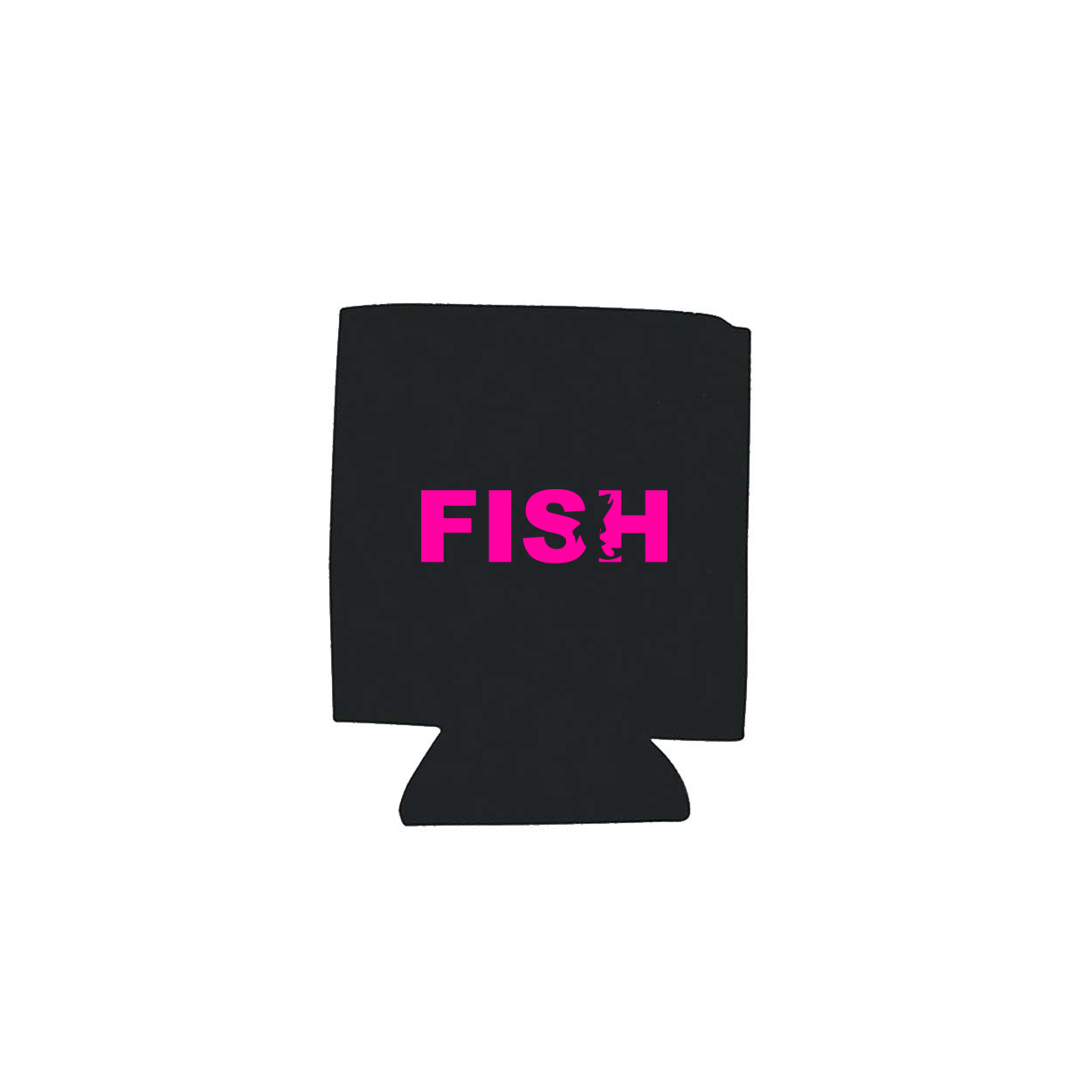 Fish Catch Logo Koozie Black (Pink Logo)