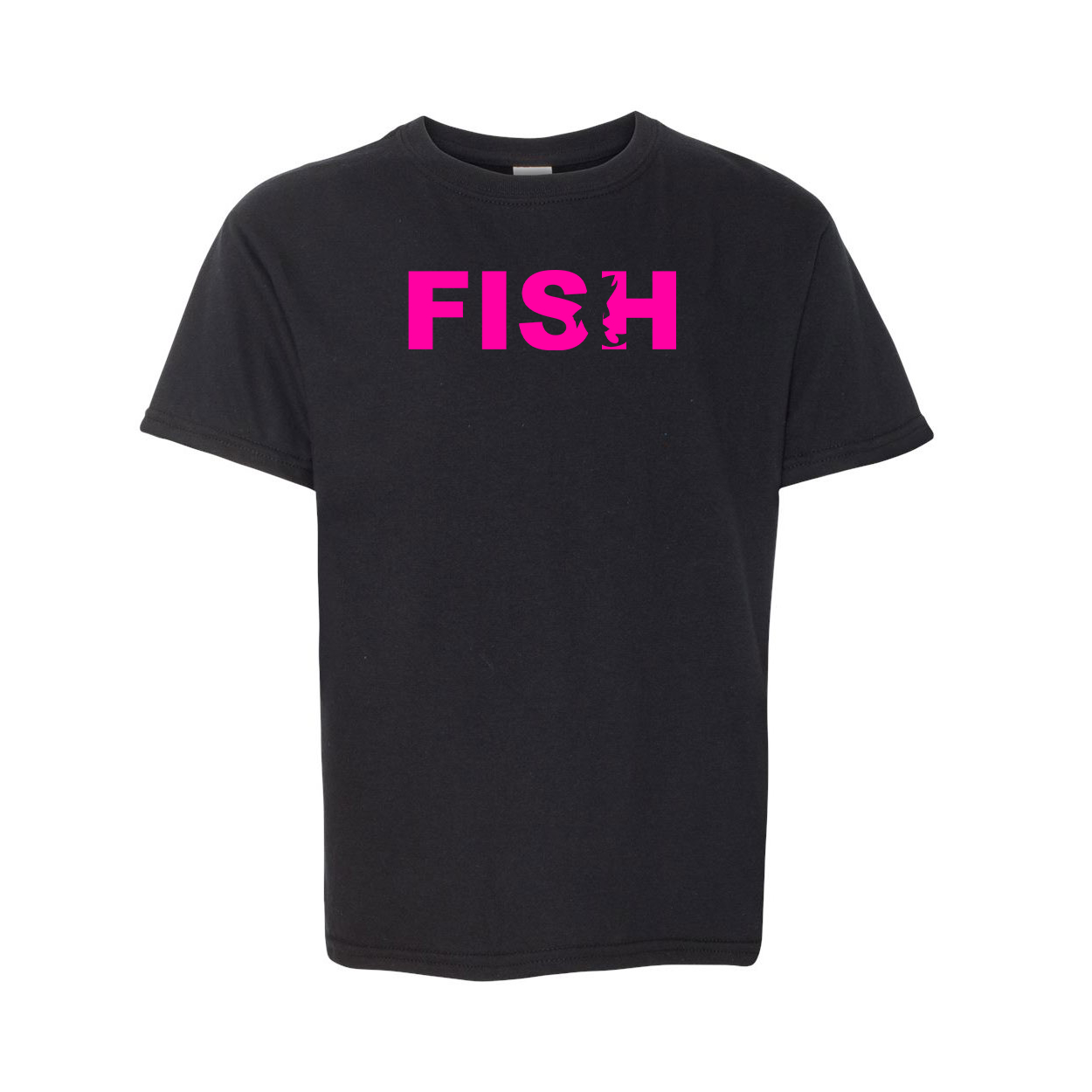 Fish Catch Logo Classic Youth T-Shirt Black (Pink Logo)