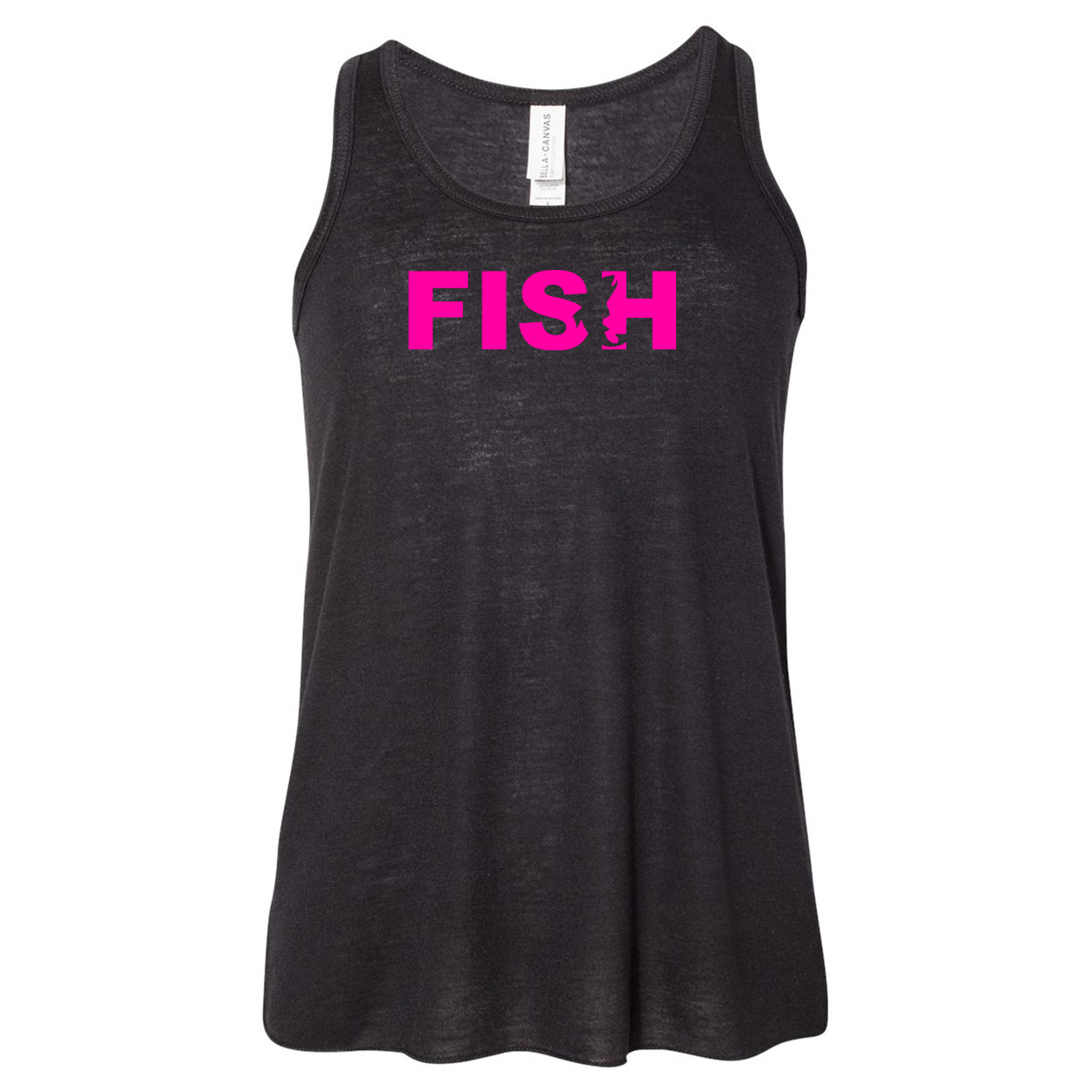 Fish Catch Logo Classic Youth Girls Flowy Racerback Tank Top Black (Pink Logo)