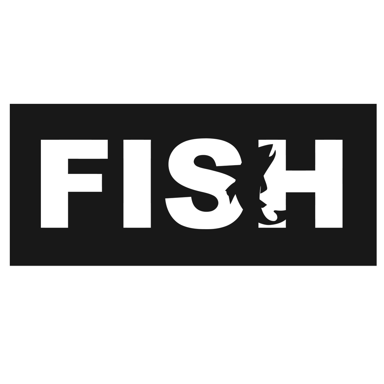 Fish Catch Logo Classic Hardboard Sign (White Logo)