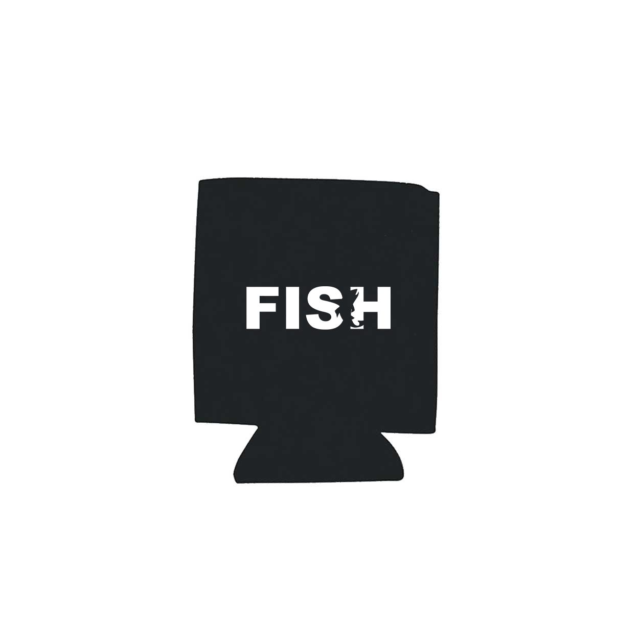 Fish Catch Logo Koozie Black (White Logo)