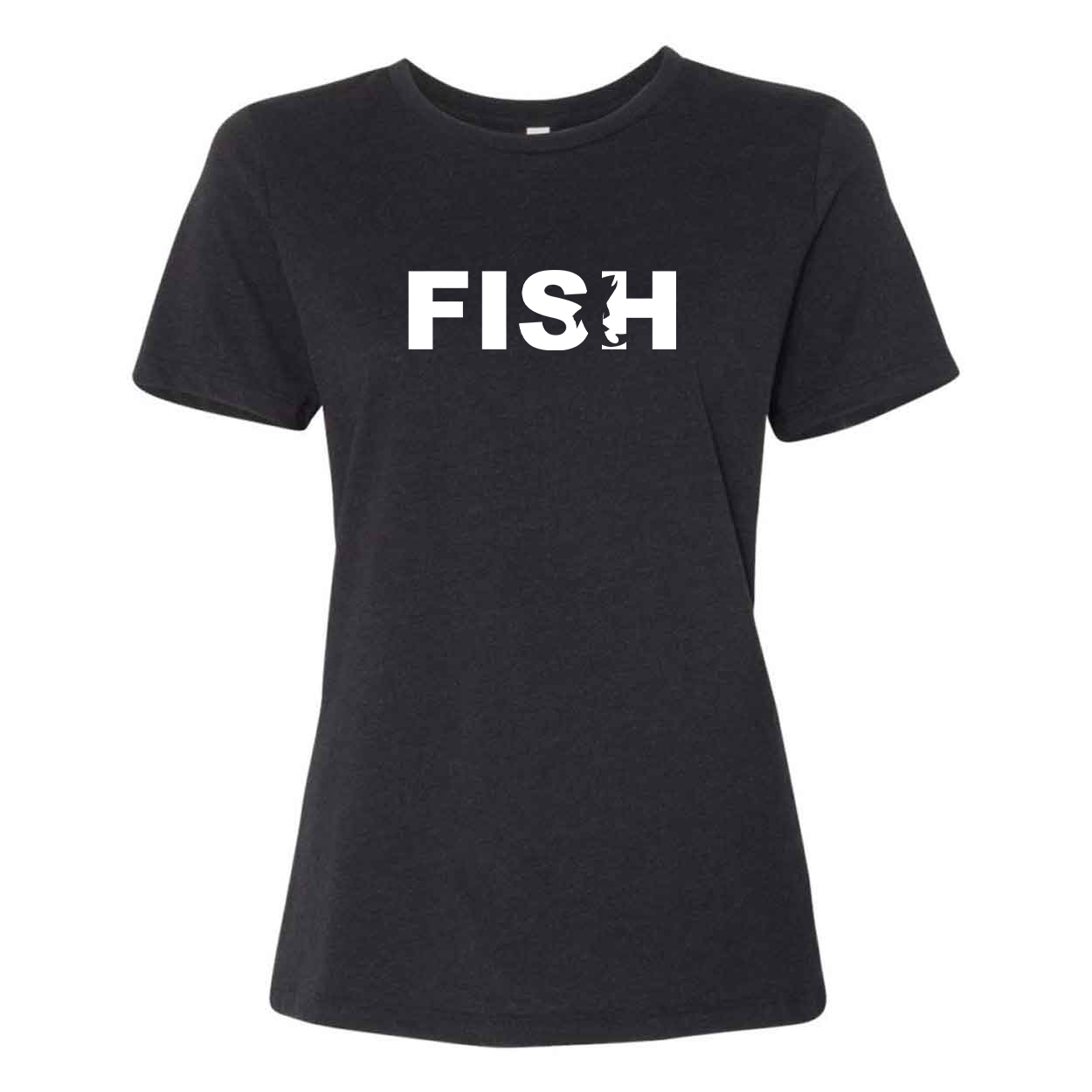 Fish Catch Logo Classic Women's Relaxed Jersey T-Shirt Black Heather (White Logo)