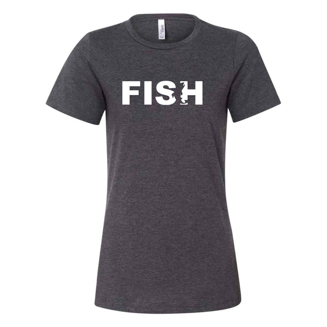 Fish Catch Logo Classic Women's Relaxed Jersey T-Shirt Dark Gray Heather (White Logo)
