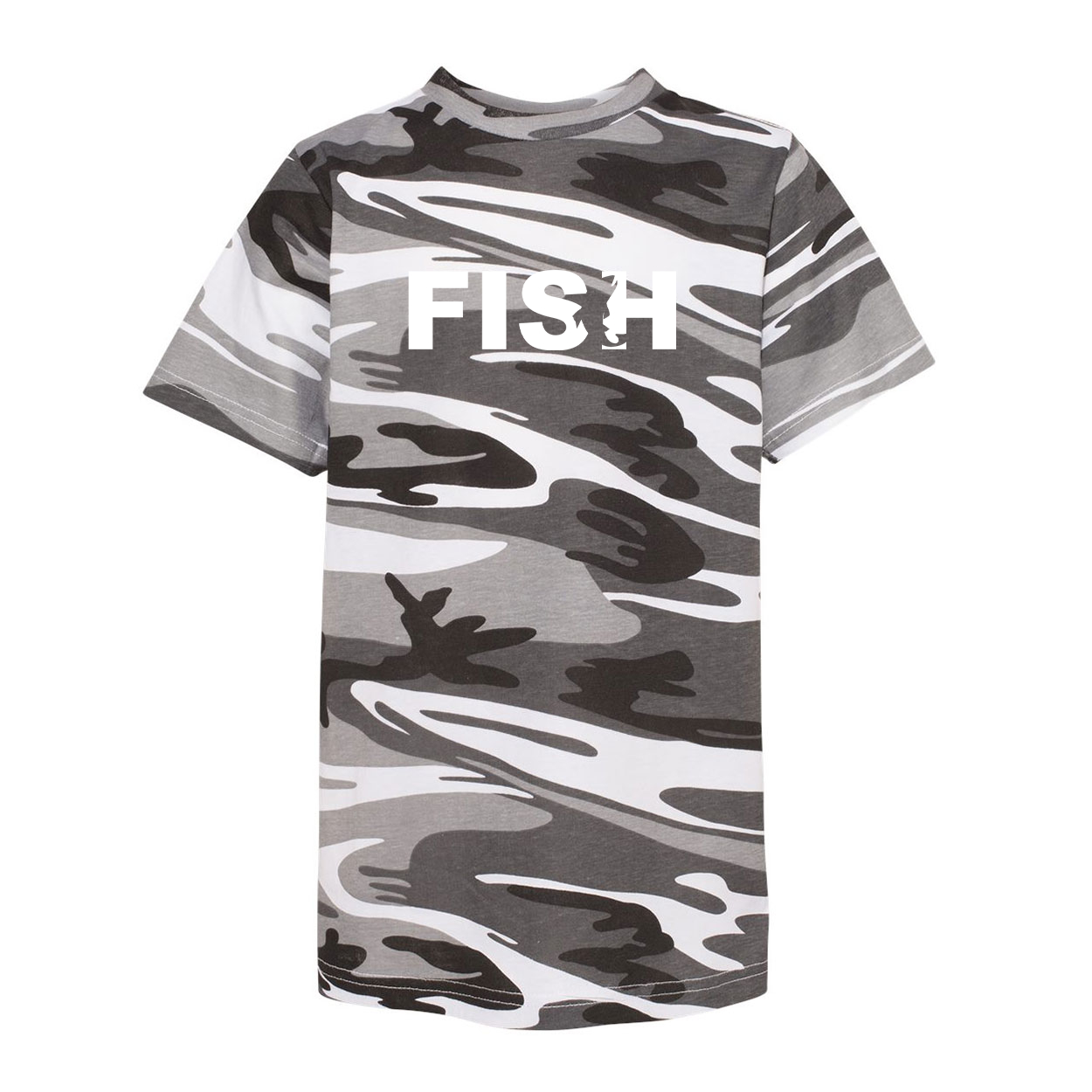 Fish Catch Logo Classic Youth Unisex T-Shirt Urban Camo (White Logo)