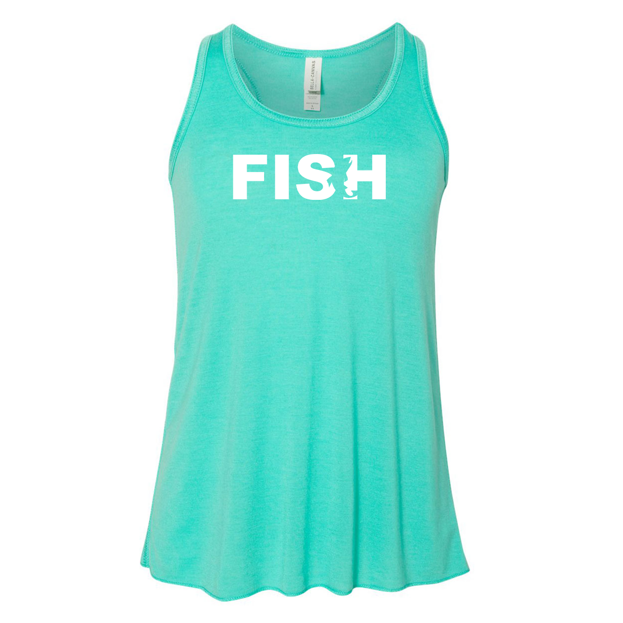 Fish Catch Logo Classic Youth Girls Flowy Racerback Tank Top Teal (White Logo)