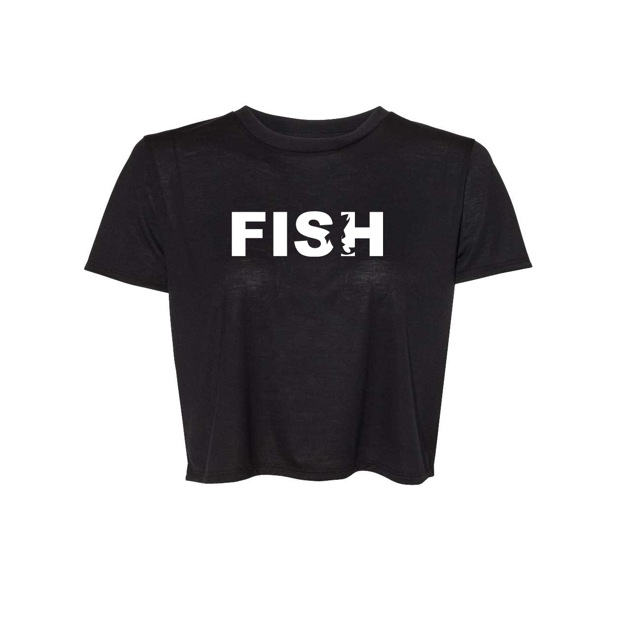 Fish Catch Logo Classic Womens Flowy Cropped Tee Black (White Logo)