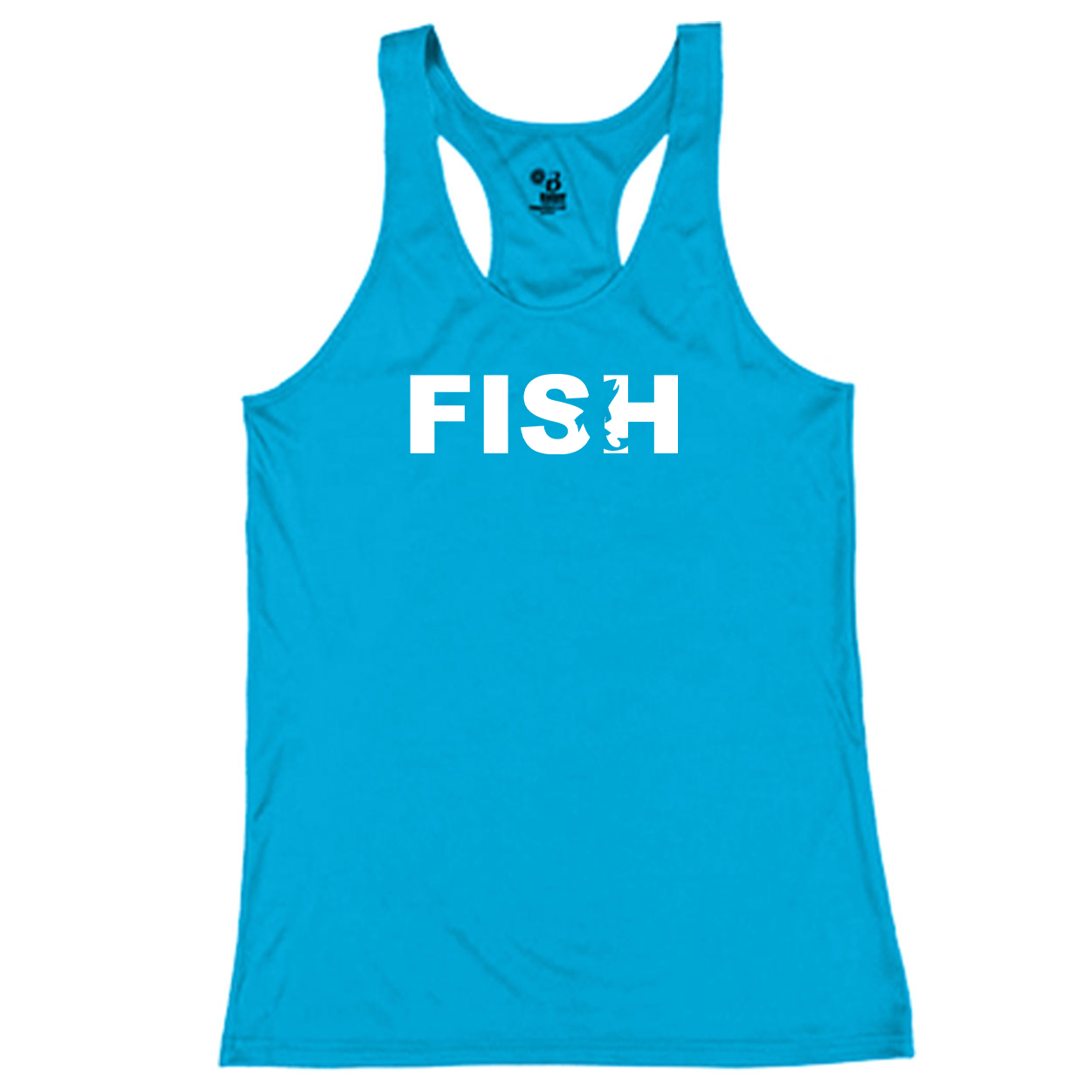 Fish Catch Logo Classic Youth Girls Performance Racerback Tank Top Electric Blue (White Logo)