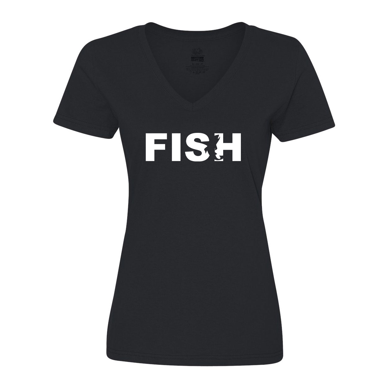 Fish Catch Logo Classic Womens V-Neck Shirt Black (White Logo)