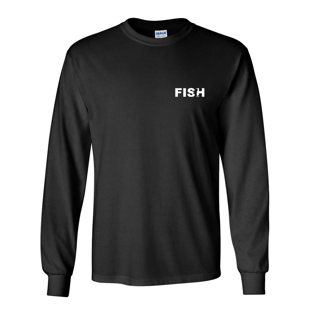 Fish Catch Logo Night Out Long Sleeve T-Shirt Black (White Logo)