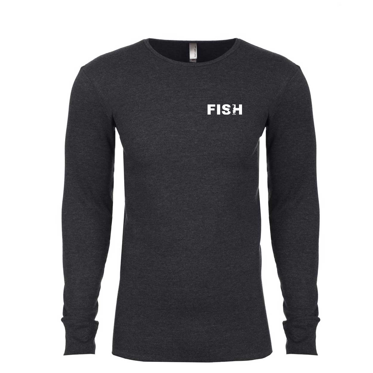 Fish Catch Logo Long Sleeve Thermal Shirt Heather Charcoal (White Logo)