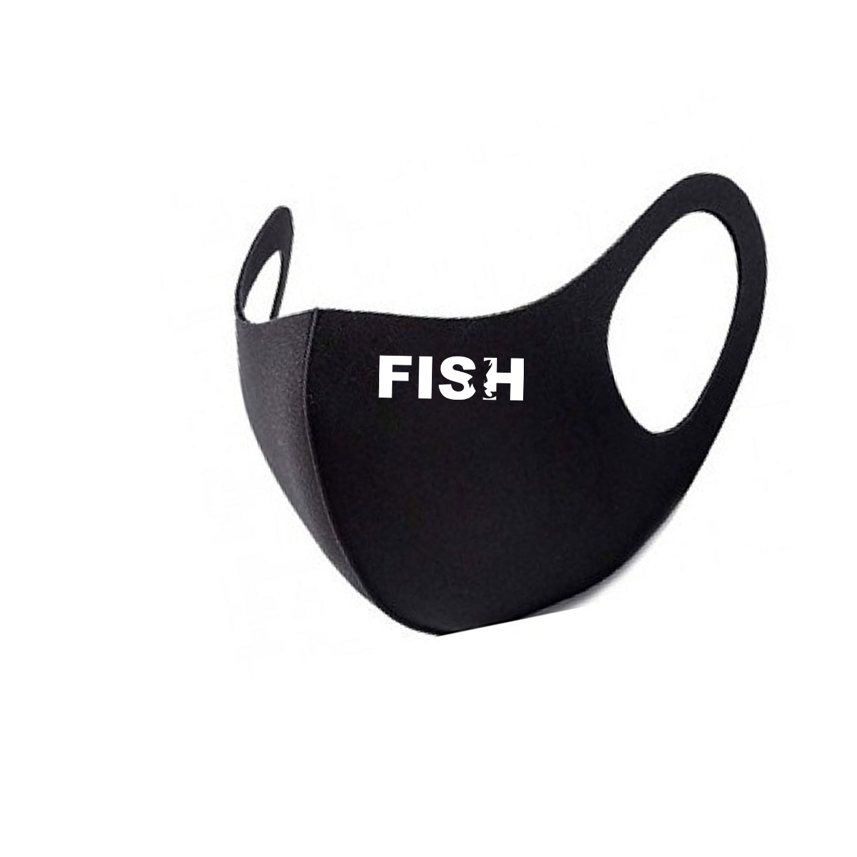 Fish Catch Logo Night Out Fitted Washable Face Mask Black (White Logo)