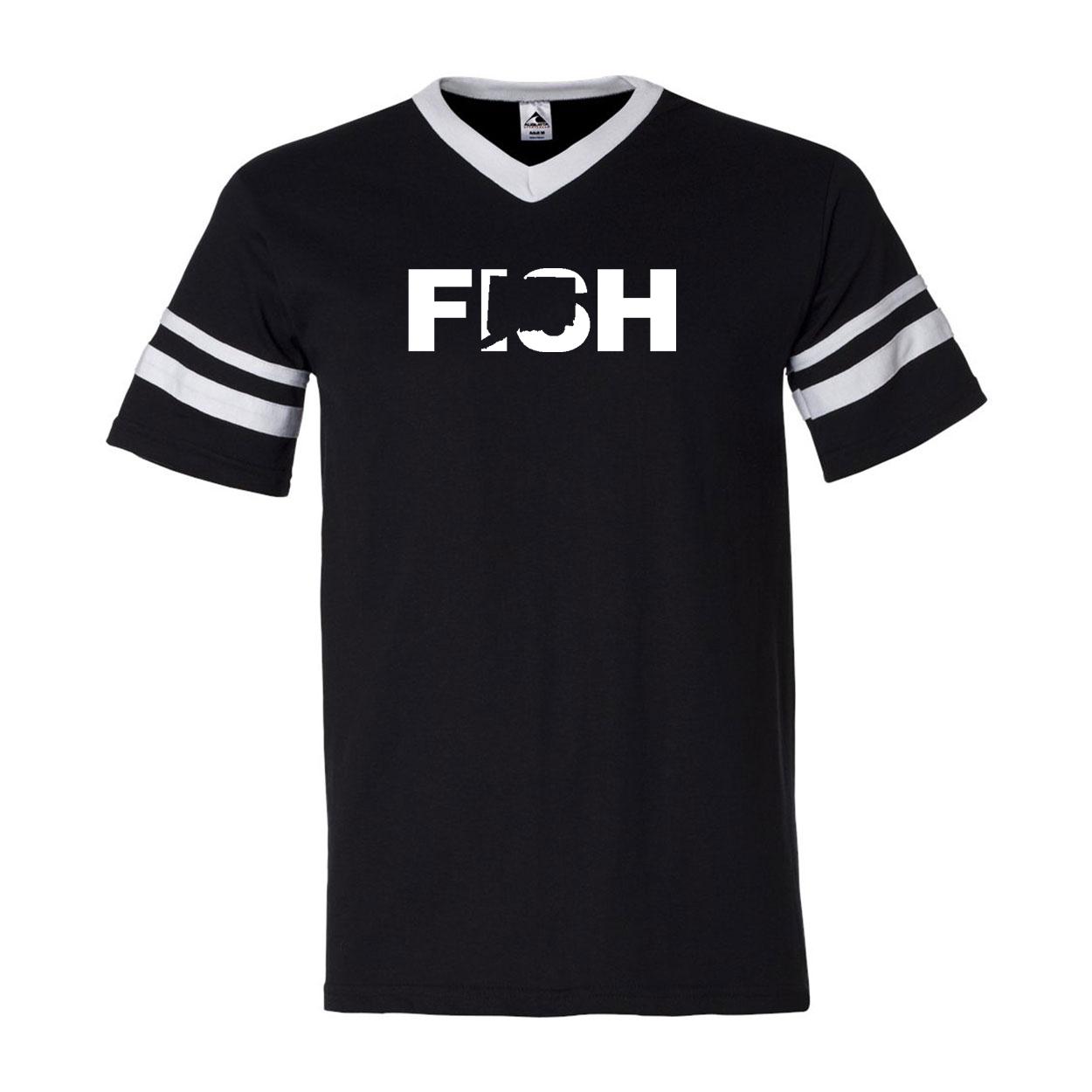 Fish Connecticut Classic Premium Striped Jersey T-Shirt Black/White (White Logo)