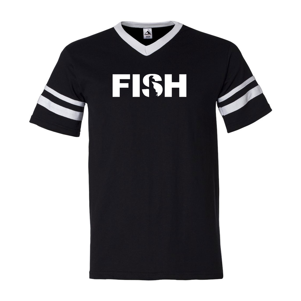 Fish Delaware Classic Premium Striped Jersey T-Shirt Black/White (White Logo)