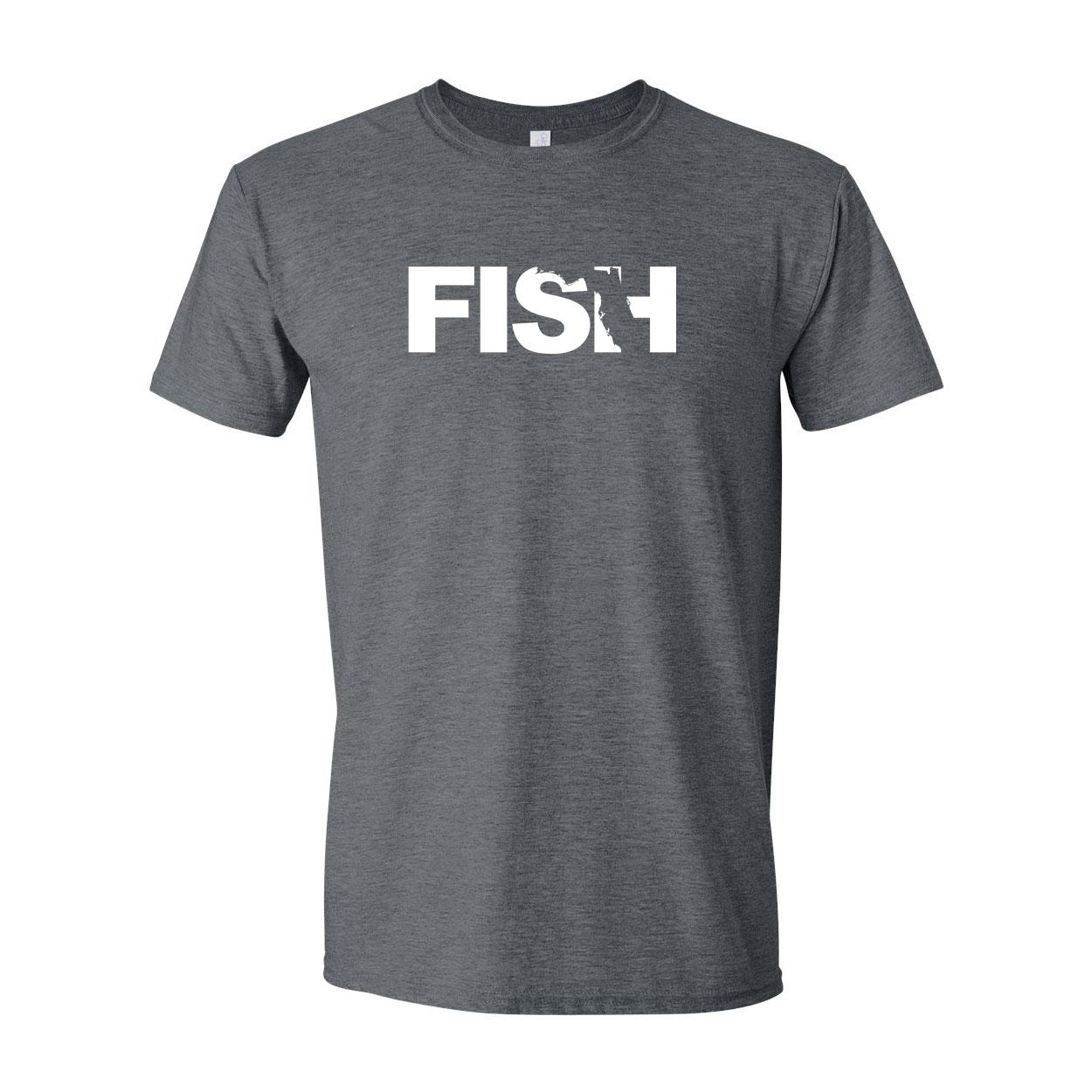 Fish Florida Classic T-Shirt Dark Heather Gray (White Logo)
