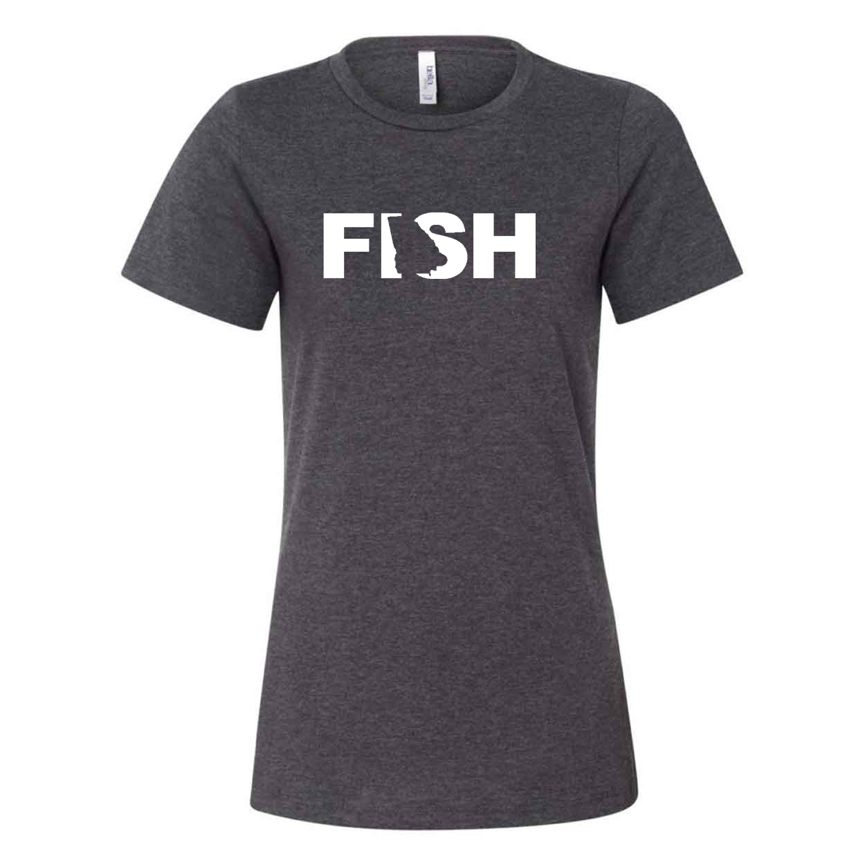 Fish Georgia Classic Women's Relaxed Jersey T-Shirt Dark Gray Heather (White Logo)