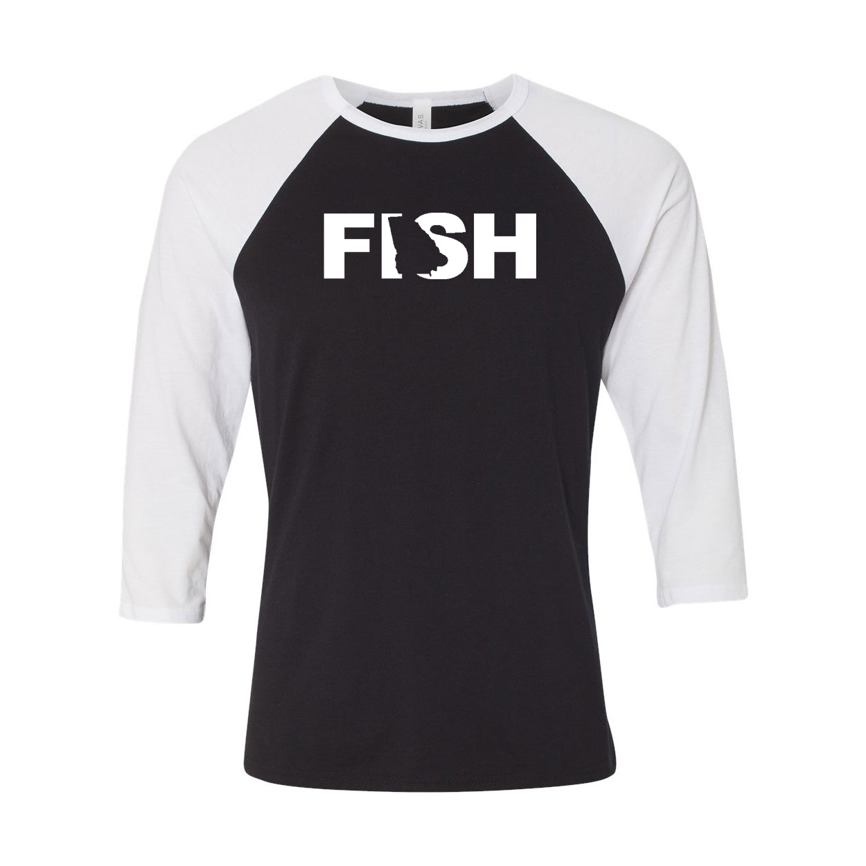 Fish Georgia Classic Raglan Shirt Black/White (White Logo)