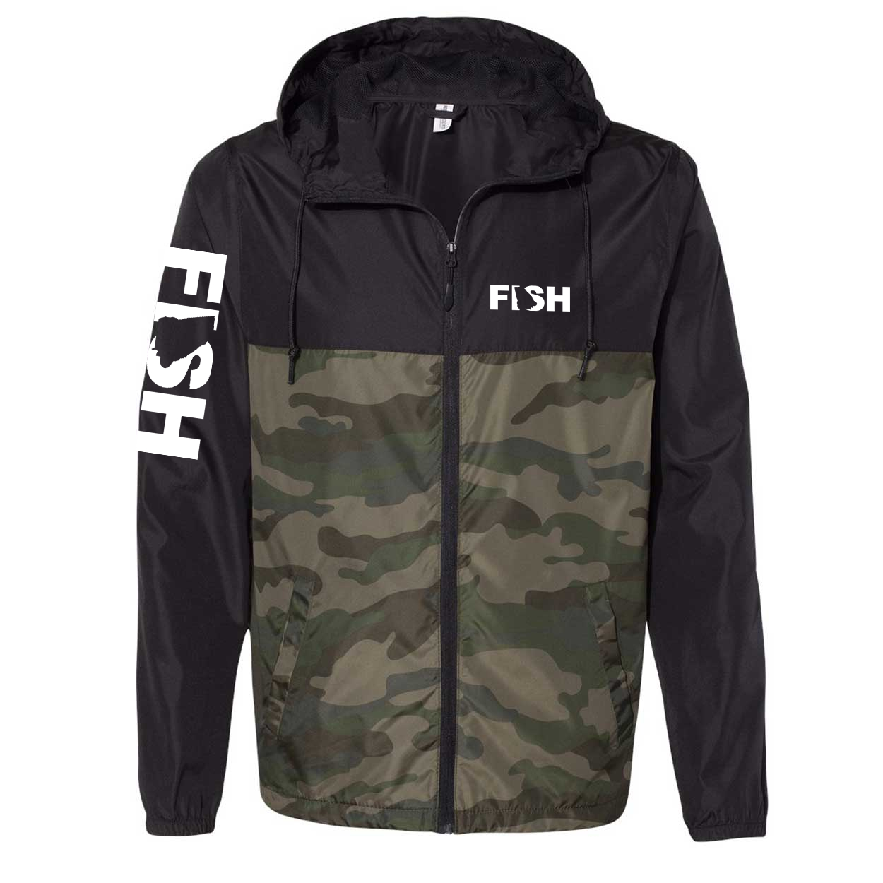 Fish Georgia Classic Lightweight Windbreaker Black/Forest Camo (White Logo)