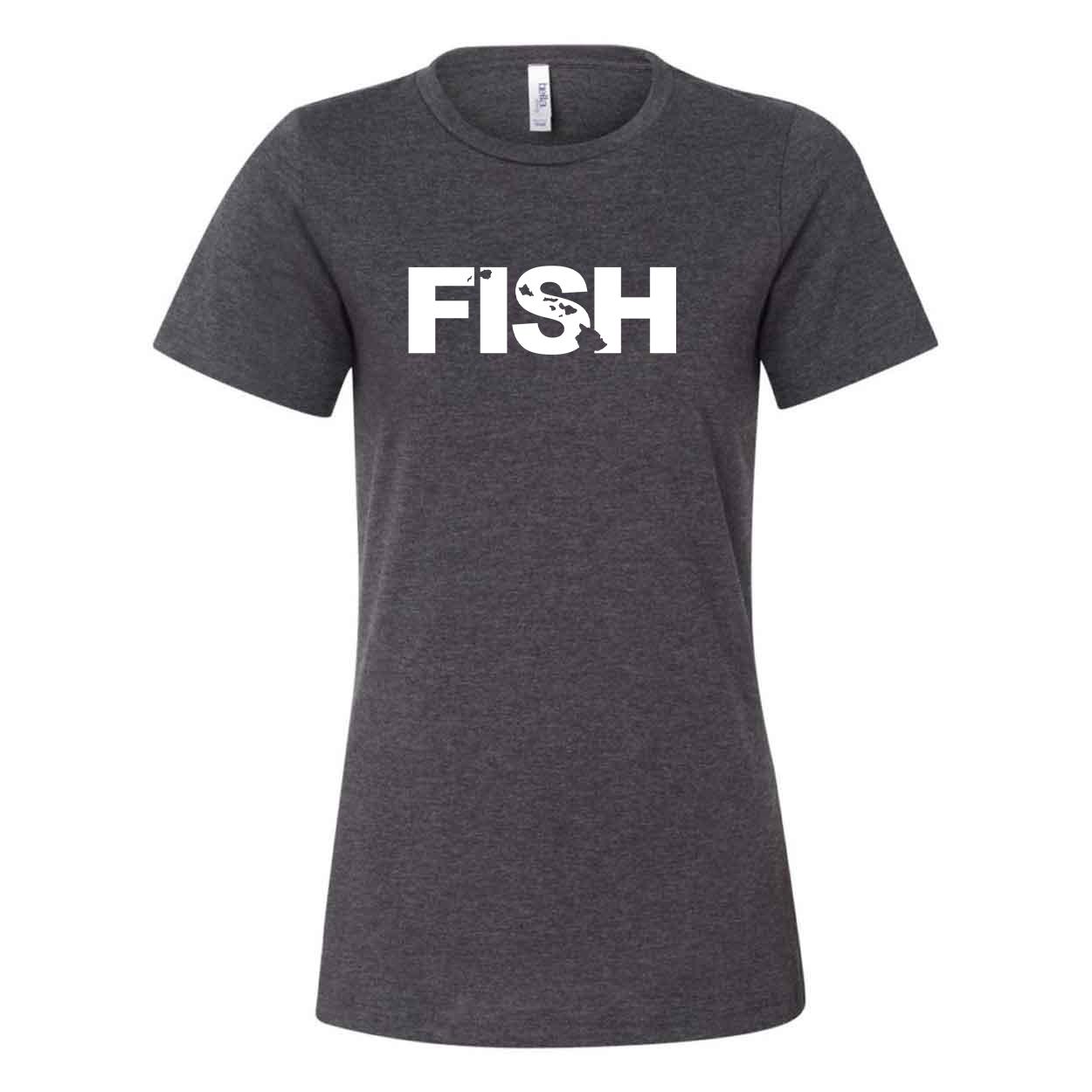 Fish Hawaii Classic Women's Relaxed Jersey T-Shirt Dark Gray Heather (White Logo)