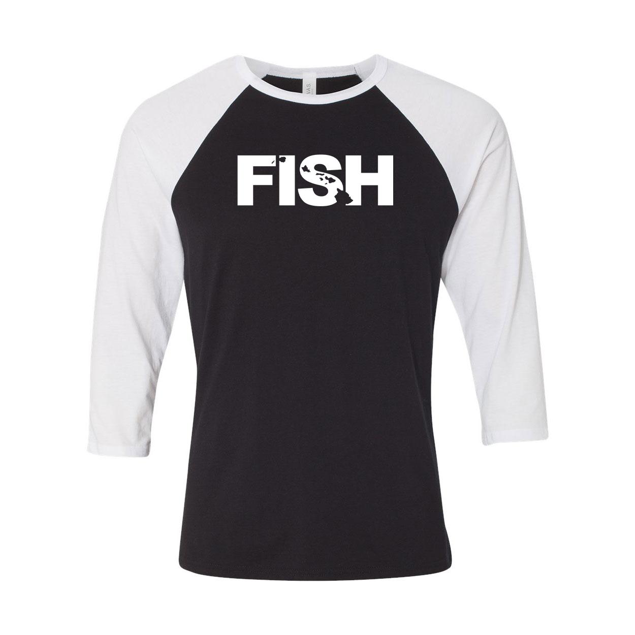 Fish Hawaii Classic Raglan Shirt Black/White (White Logo)