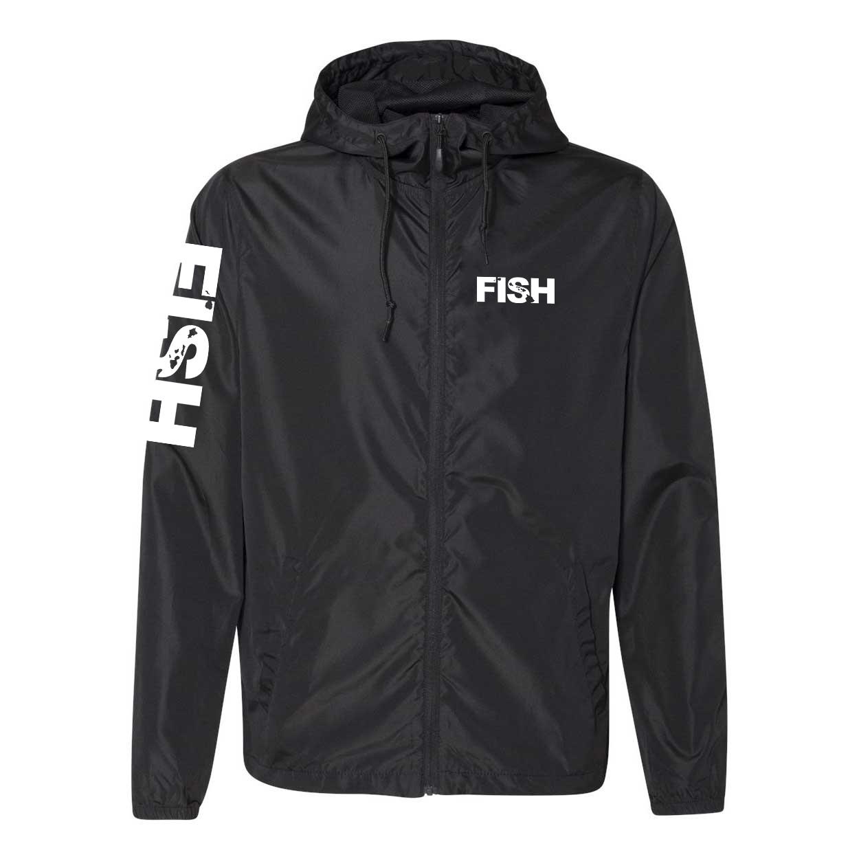 Fish Hawaii Classic Lightweight Windbreaker Black (White Logo)