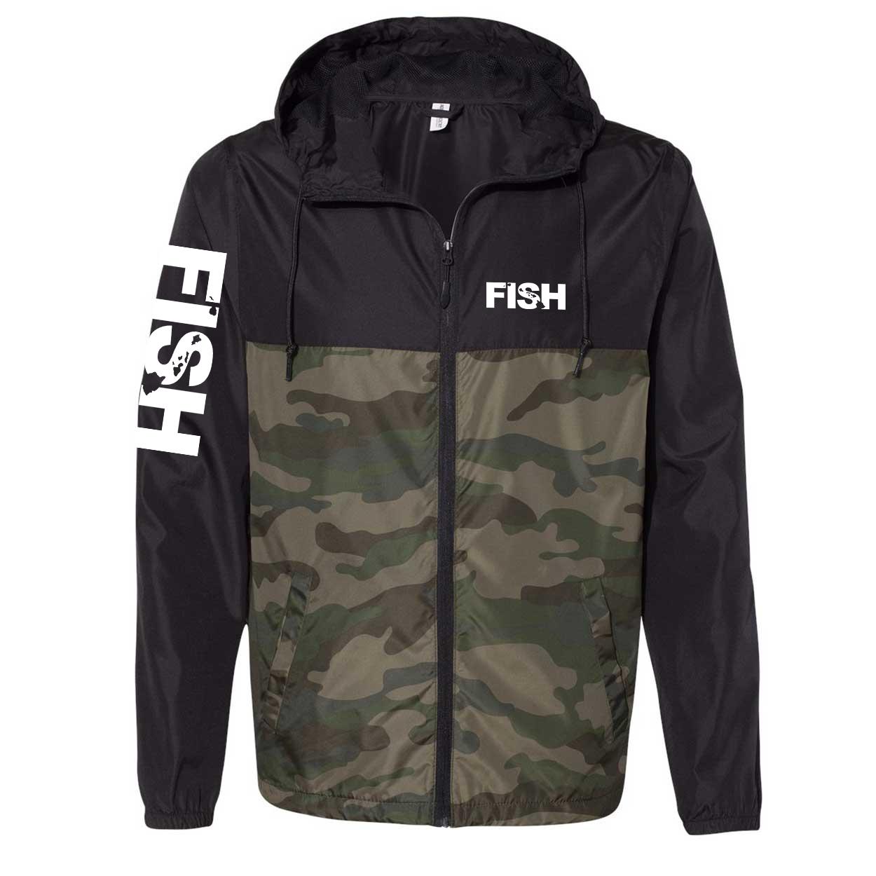 Fish Hawaii Classic Lightweight Windbreaker Black/Forest Camo (White Logo)