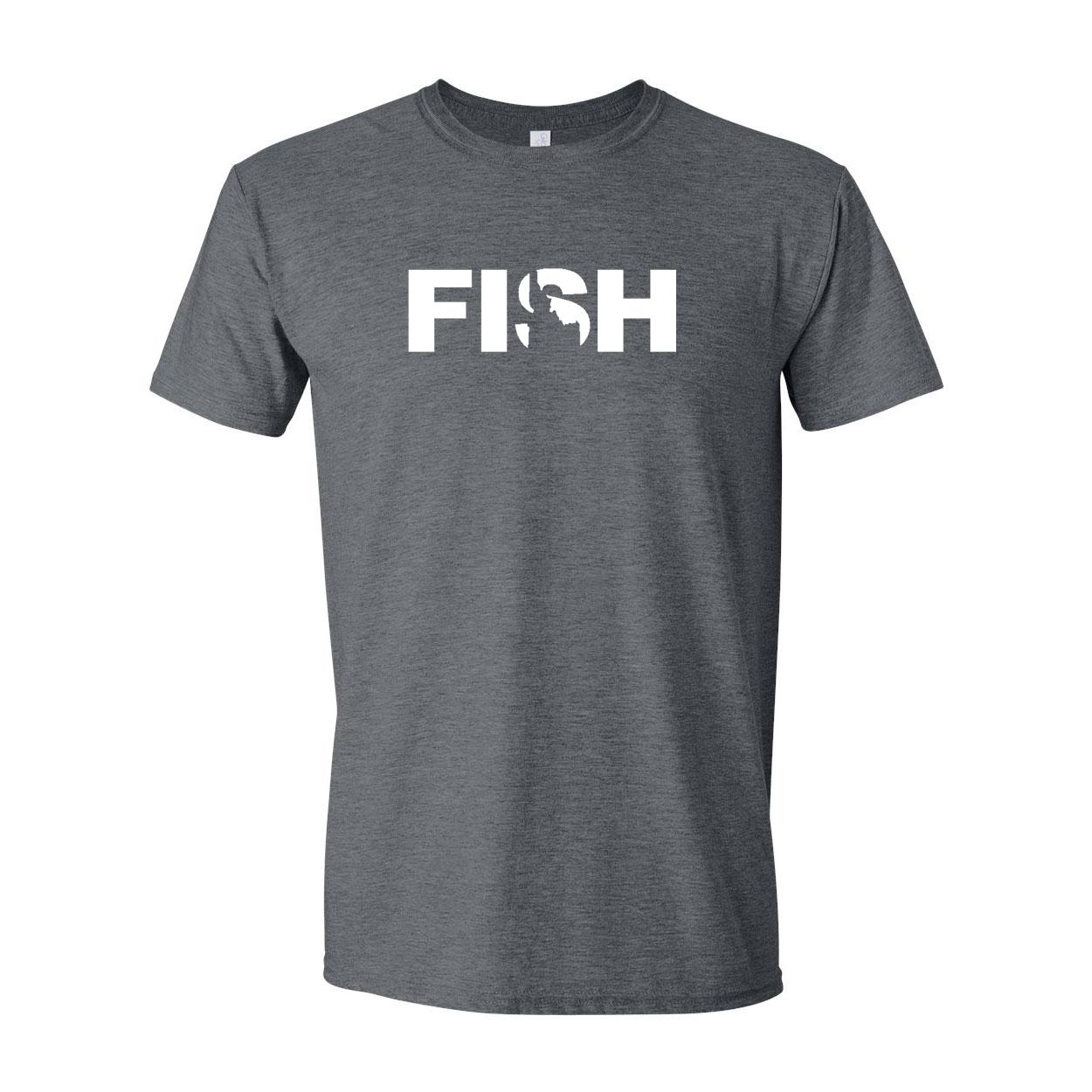 Fish Idaho Classic T-Shirt Dark Heather Gray (White Logo)