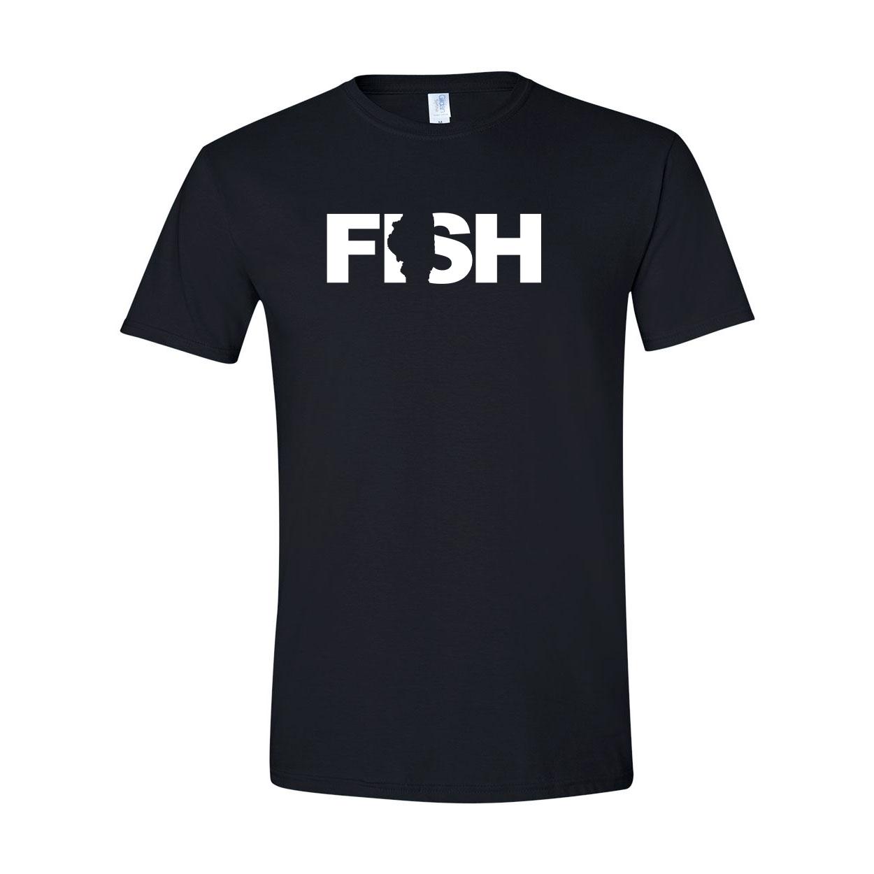 Fish Illinois Classic T-Shirt Black (White Logo)