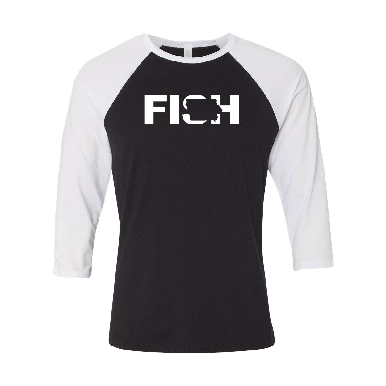 Fish Iowa Classic Raglan Shirt Black/White (White Logo)