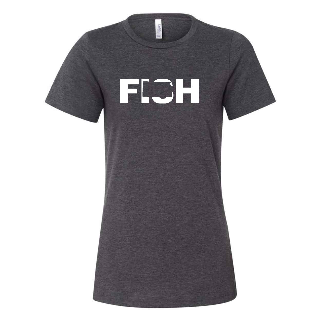 Fish Kansas Classic Women's Relaxed Jersey T-Shirt Dark Gray Heather (White Logo)