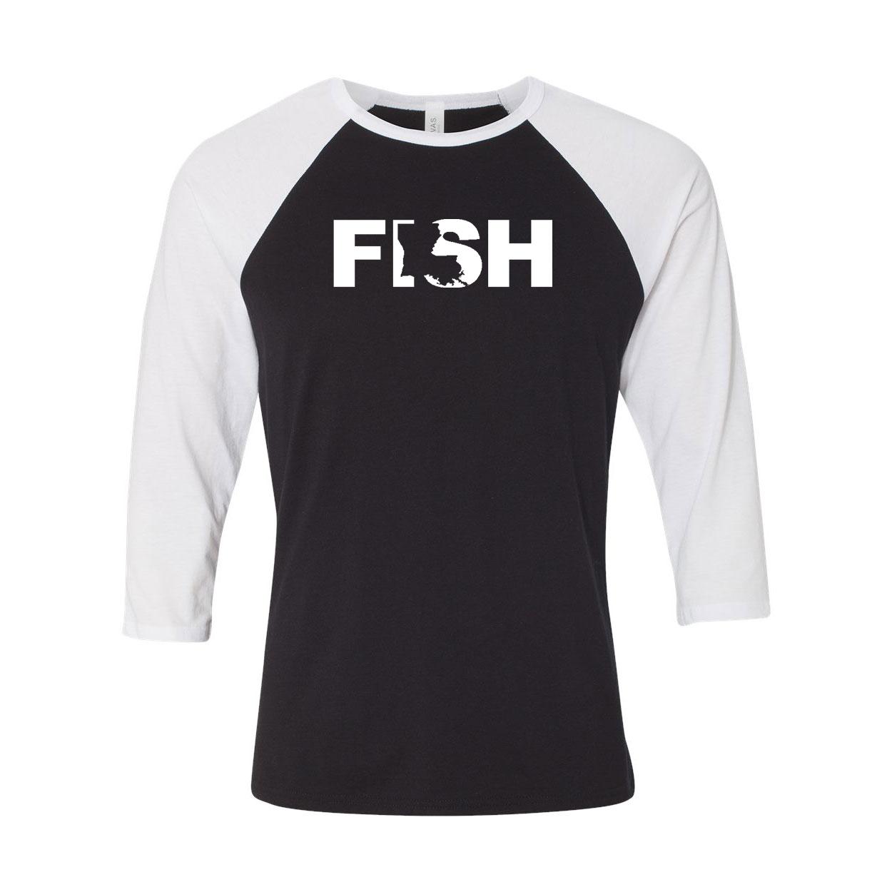 Fish Louisiana Classic Raglan Shirt Black/White (White Logo)