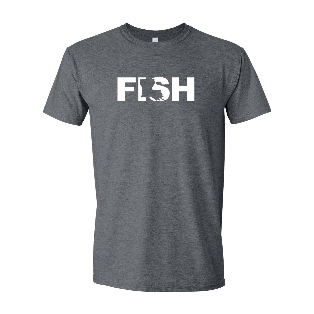 Fish Louisiana Classic T-Shirt Dark Heather Gray (White Logo)