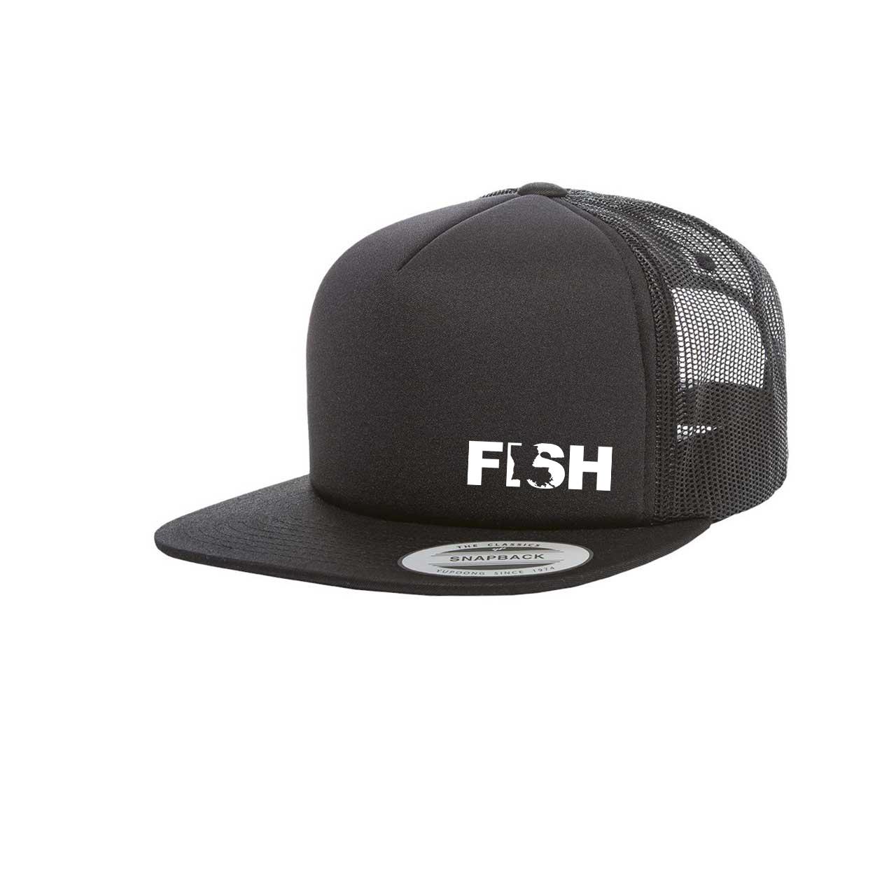 Fish Louisiana Night Out Premium Foam Flat Brim Snapback Hat Black (White Logo)