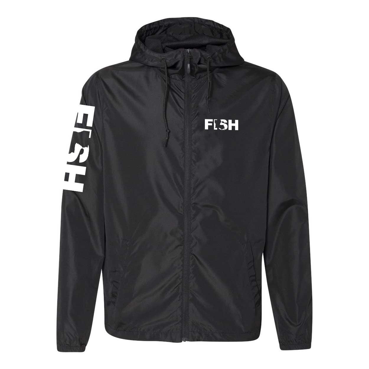 Fish Louisiana Classic Lightweight Windbreaker Black (White Logo)