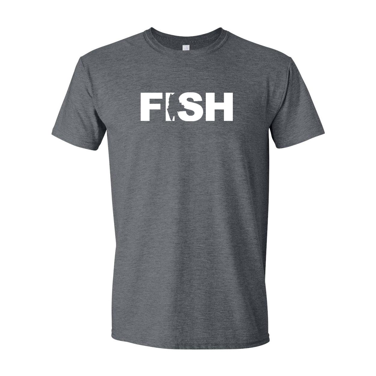 Fish Maine Classic T-Shirt Dark Heather Gray (White Logo)