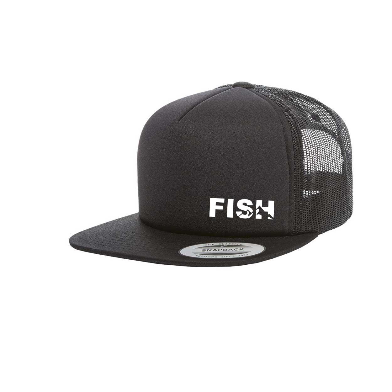 Fish Mountain Logo Night Out Premium Foam Flat Brim Snapback Hat Black (White Logo)