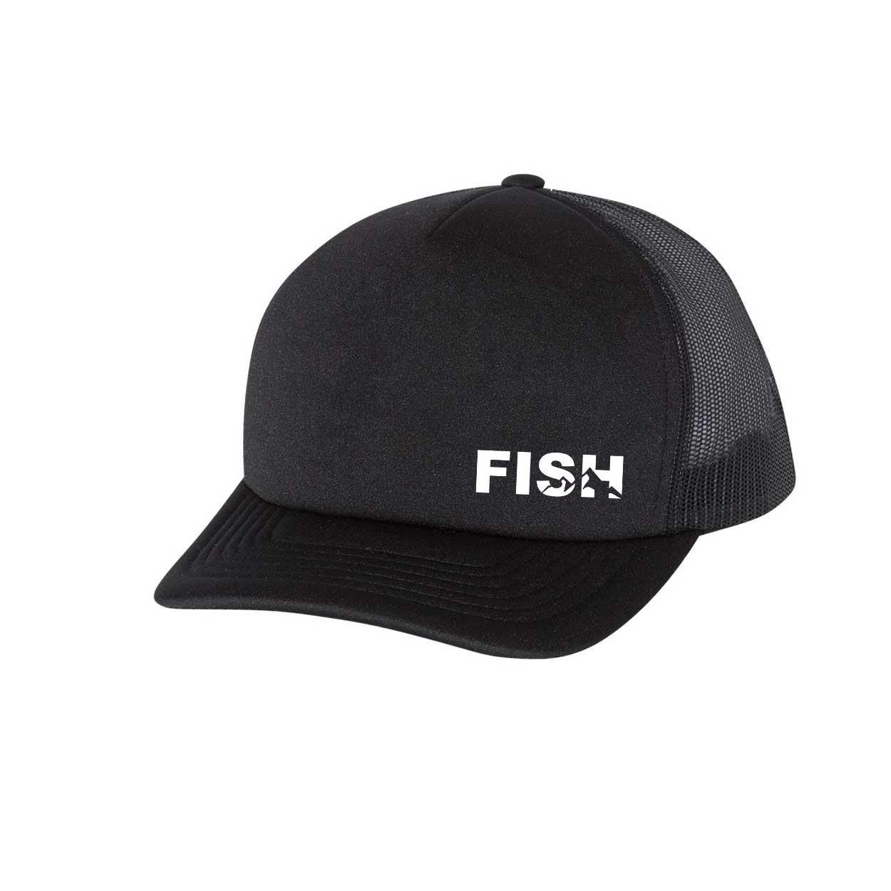 Fish Mountain Logo Night Out Premium Foam Trucker Snapback Hat Black (White Logo)