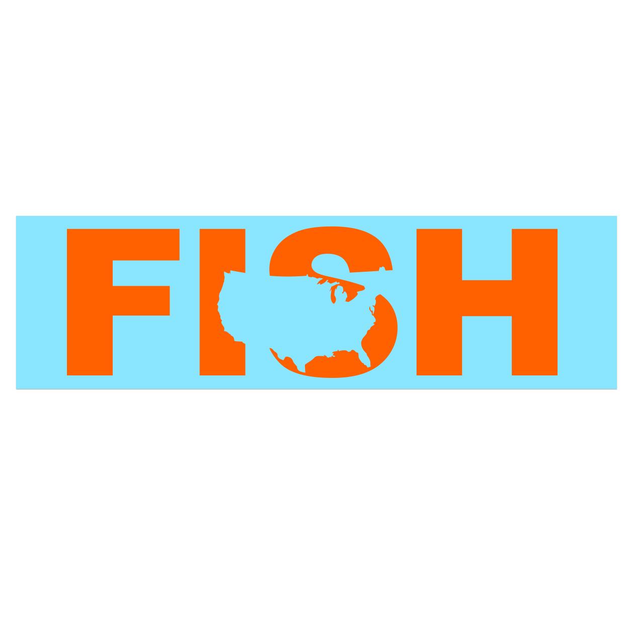 Fish United States Classic Decal (Orange Logo)