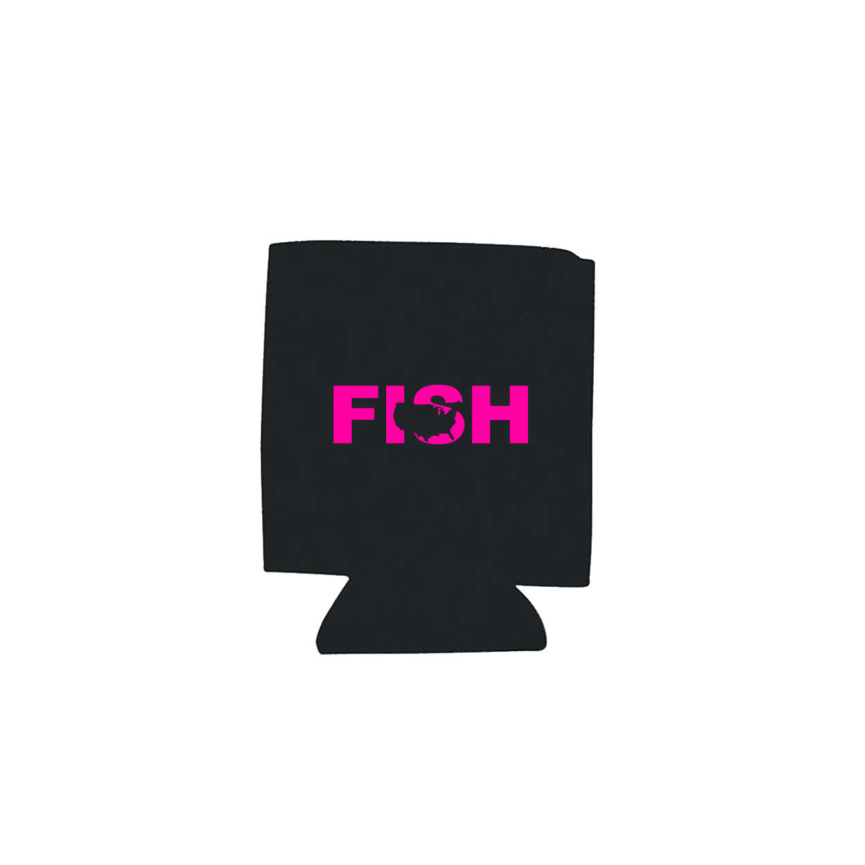 Fish United States Koozie Black (Pink Logo)