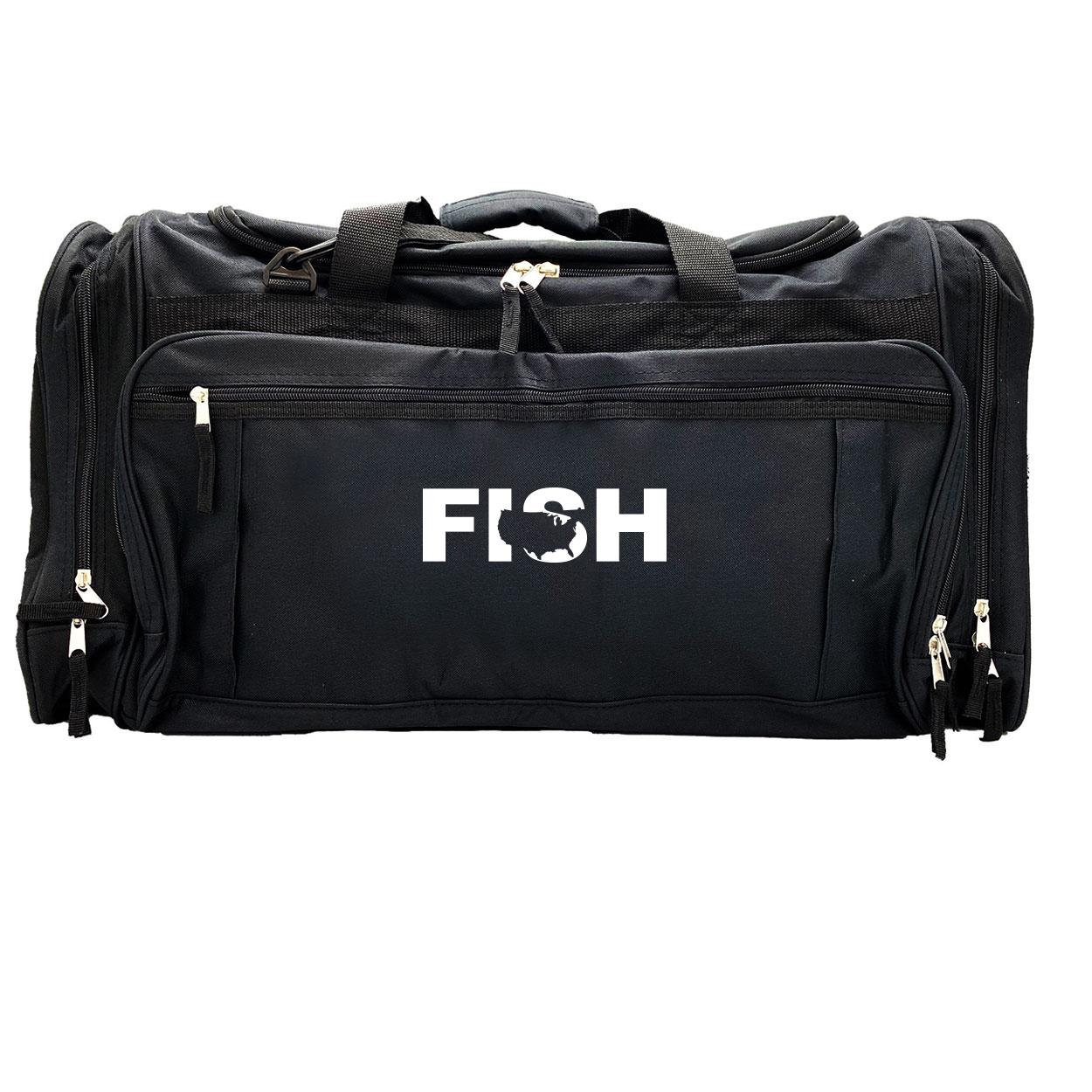 Fish United States Classic Explorer Large Duffel Bag Black (White Logo)