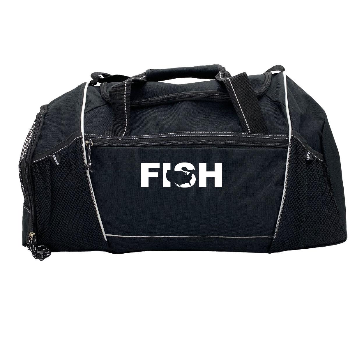Fish United States Classic Endurance Sport Duffel Bag Black (White Logo)