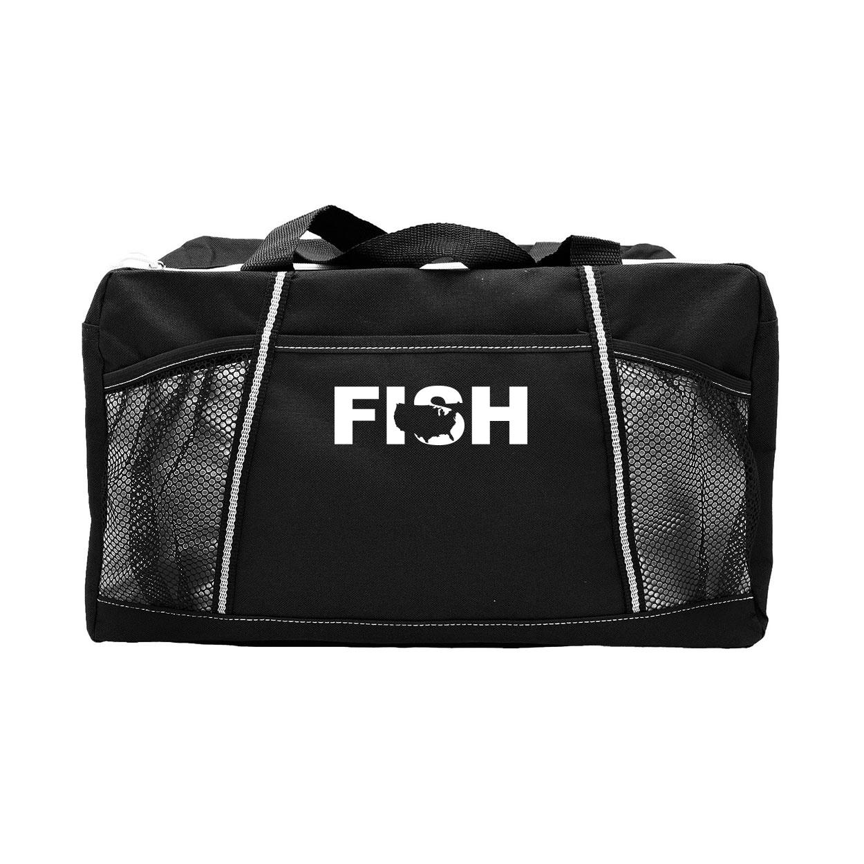 Fish United States Classic Champion Sport Duffel Bag Black (White Logo)