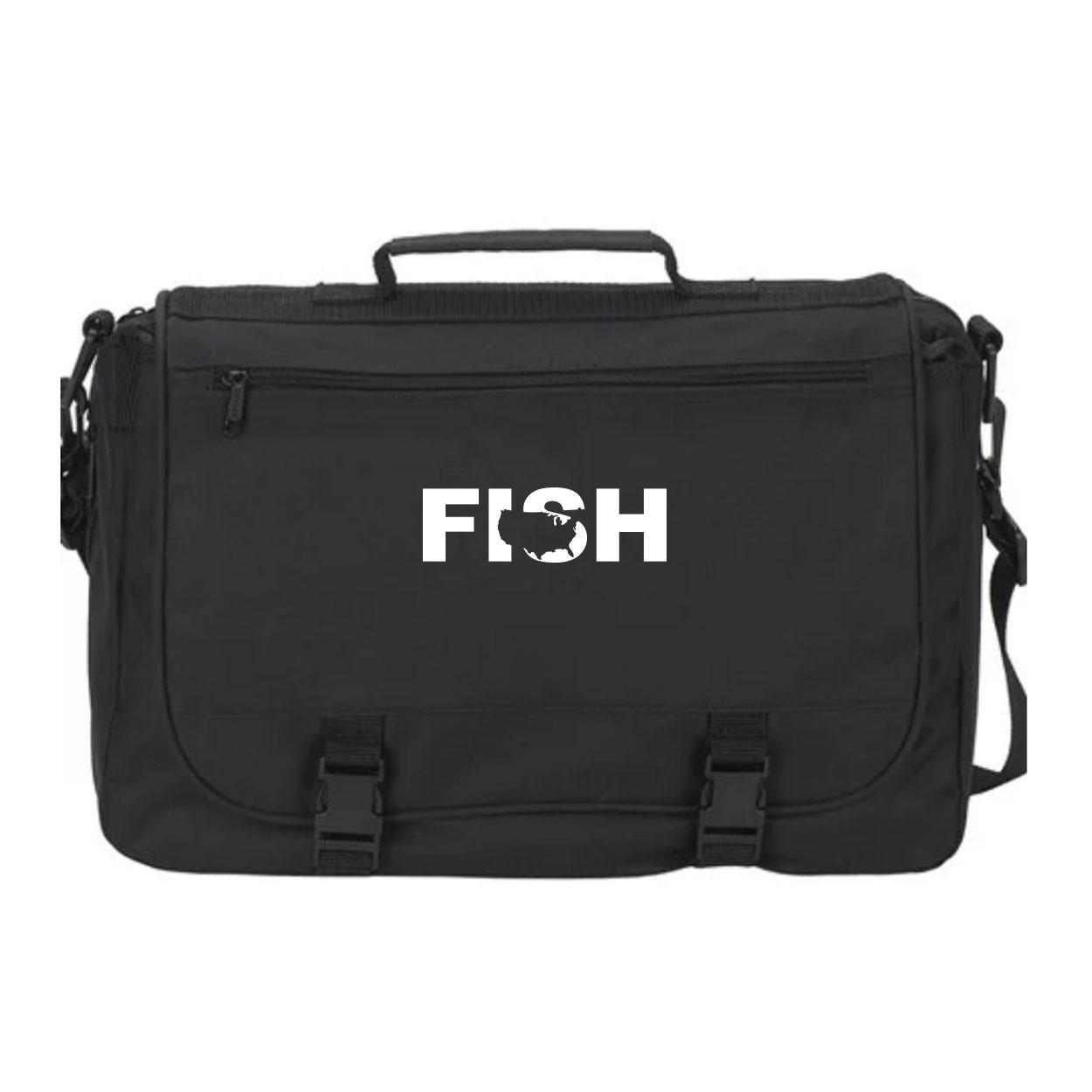 Fish United States Classic Executive Laptop Saddlebag Black (White Logo)