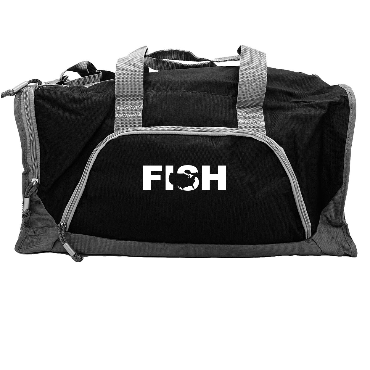 Fish United States Classic Rangeley Sport Duffel Bag Black (White Logo)