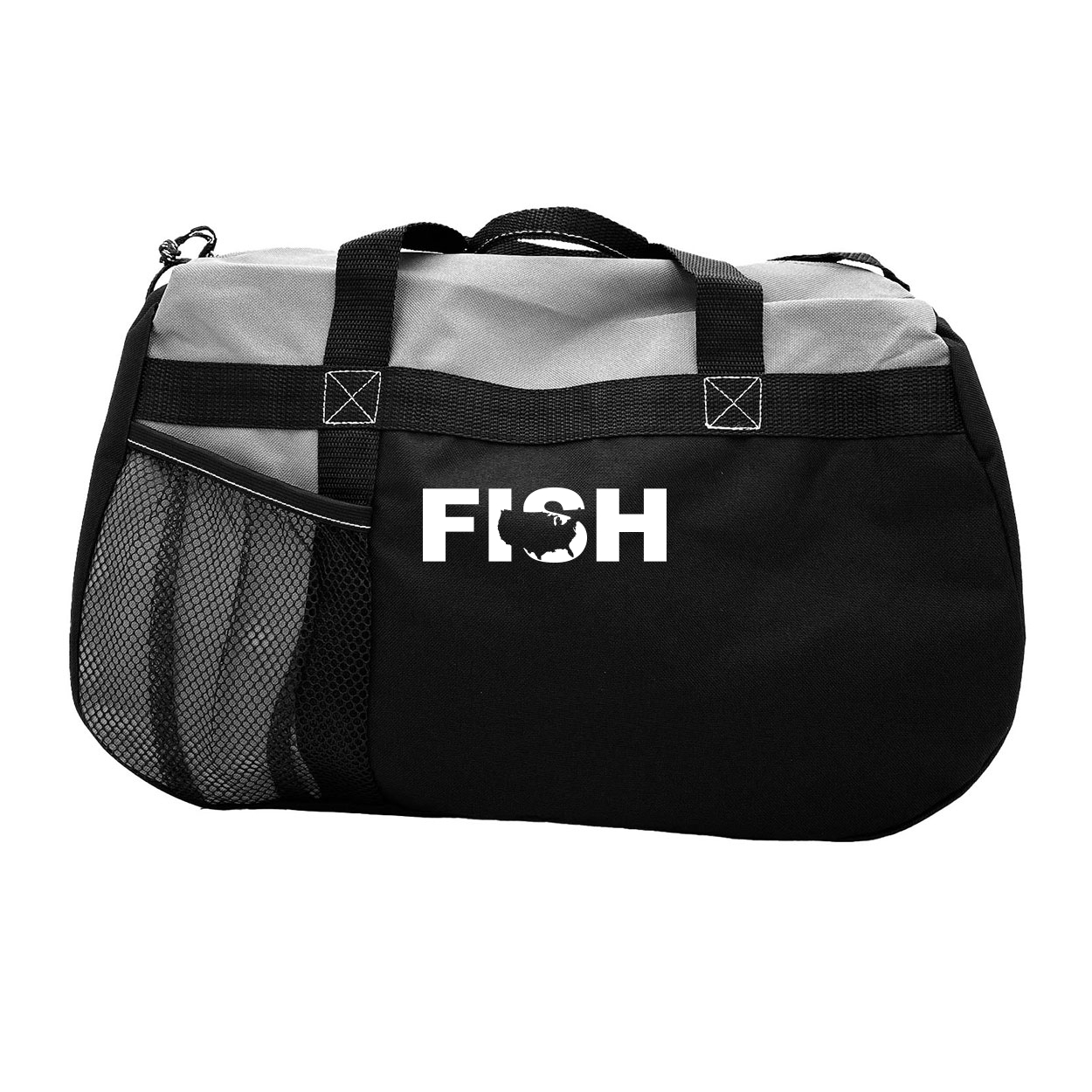 Fish United States Classic Sequel Sport Duffel Bag Black (White Logo)